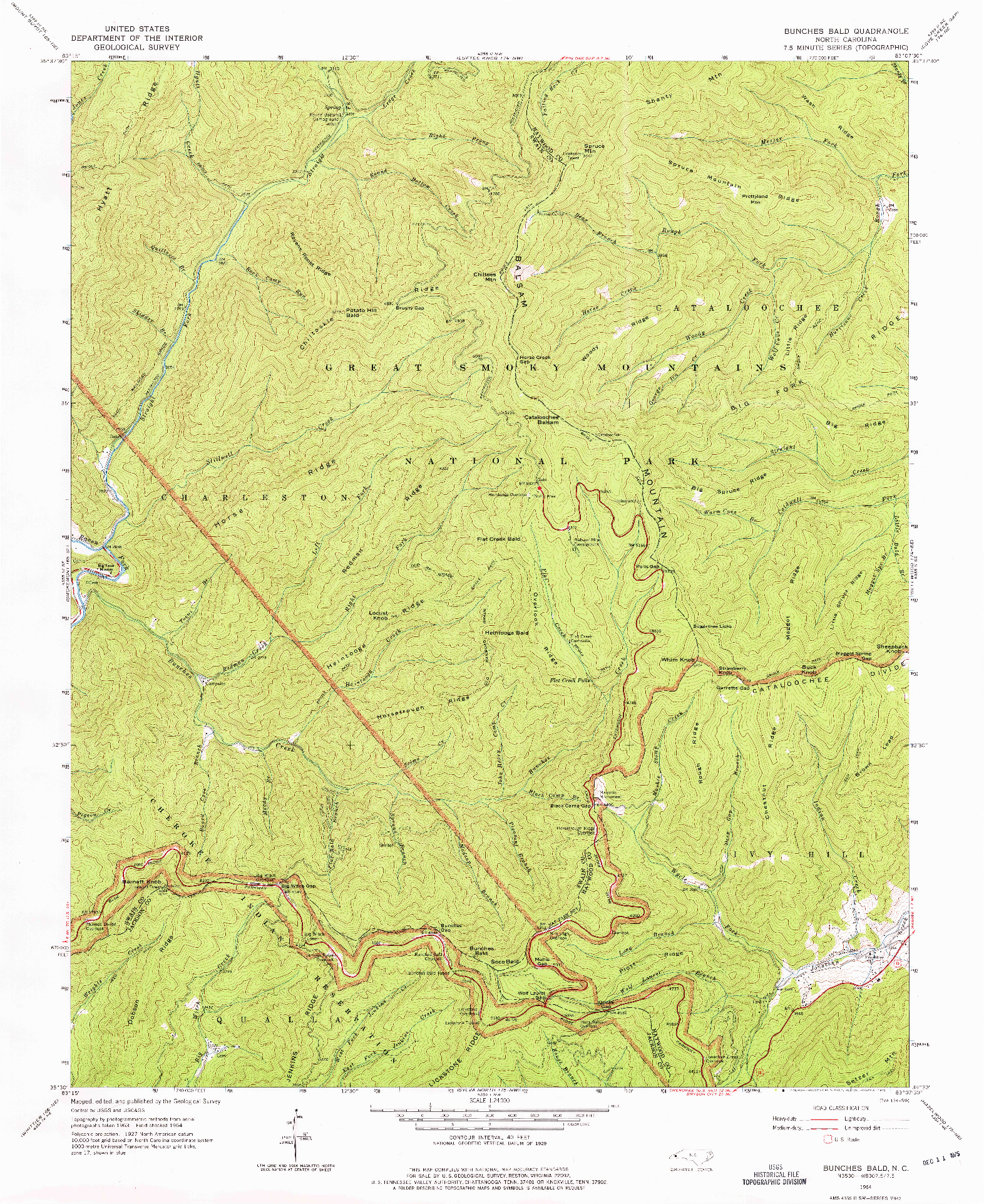 USGS 1:24000-SCALE QUADRANGLE FOR BUNCHES BALD, NC 1964