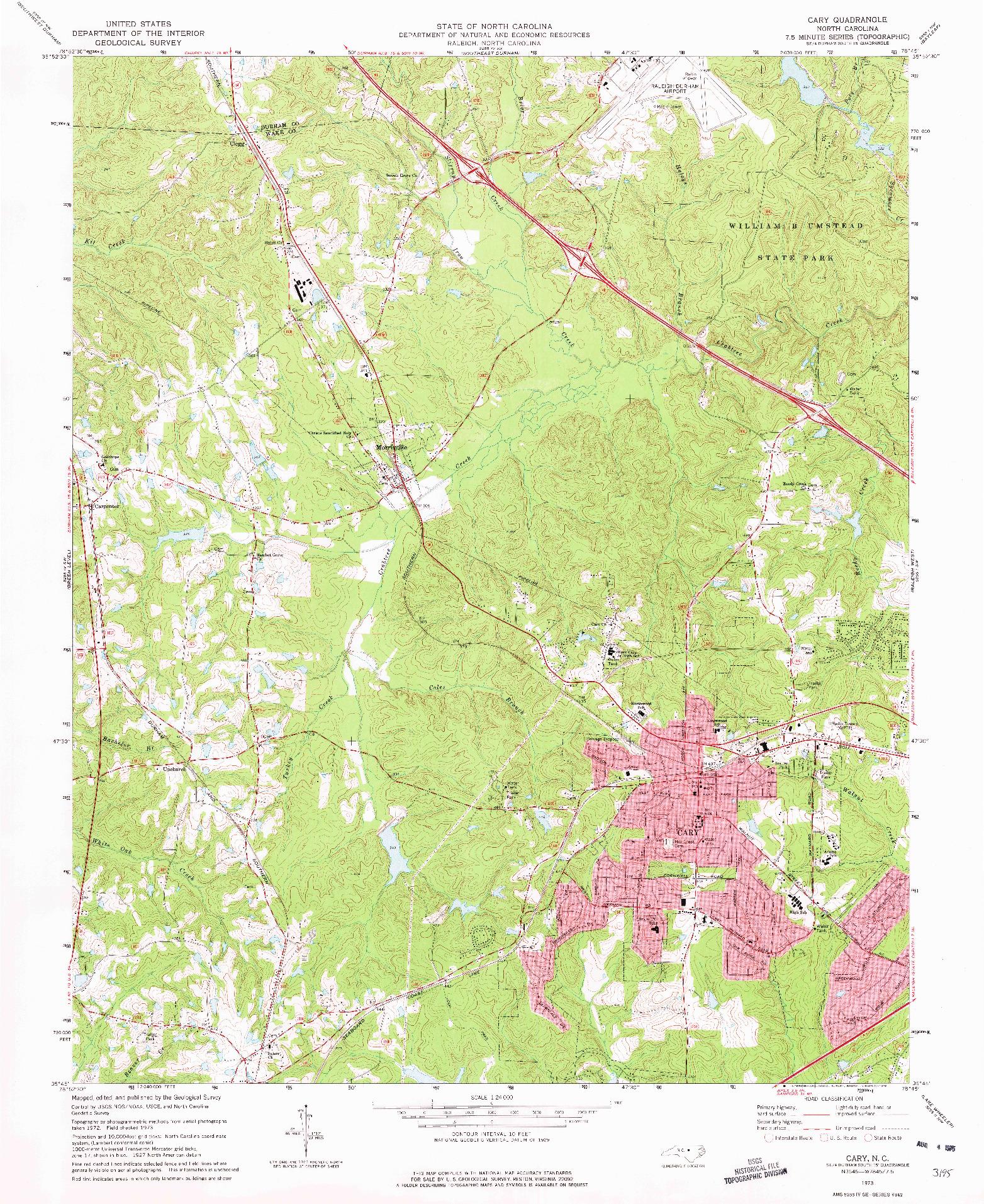 USGS 1:24000-SCALE QUADRANGLE FOR CARY, NC 1973