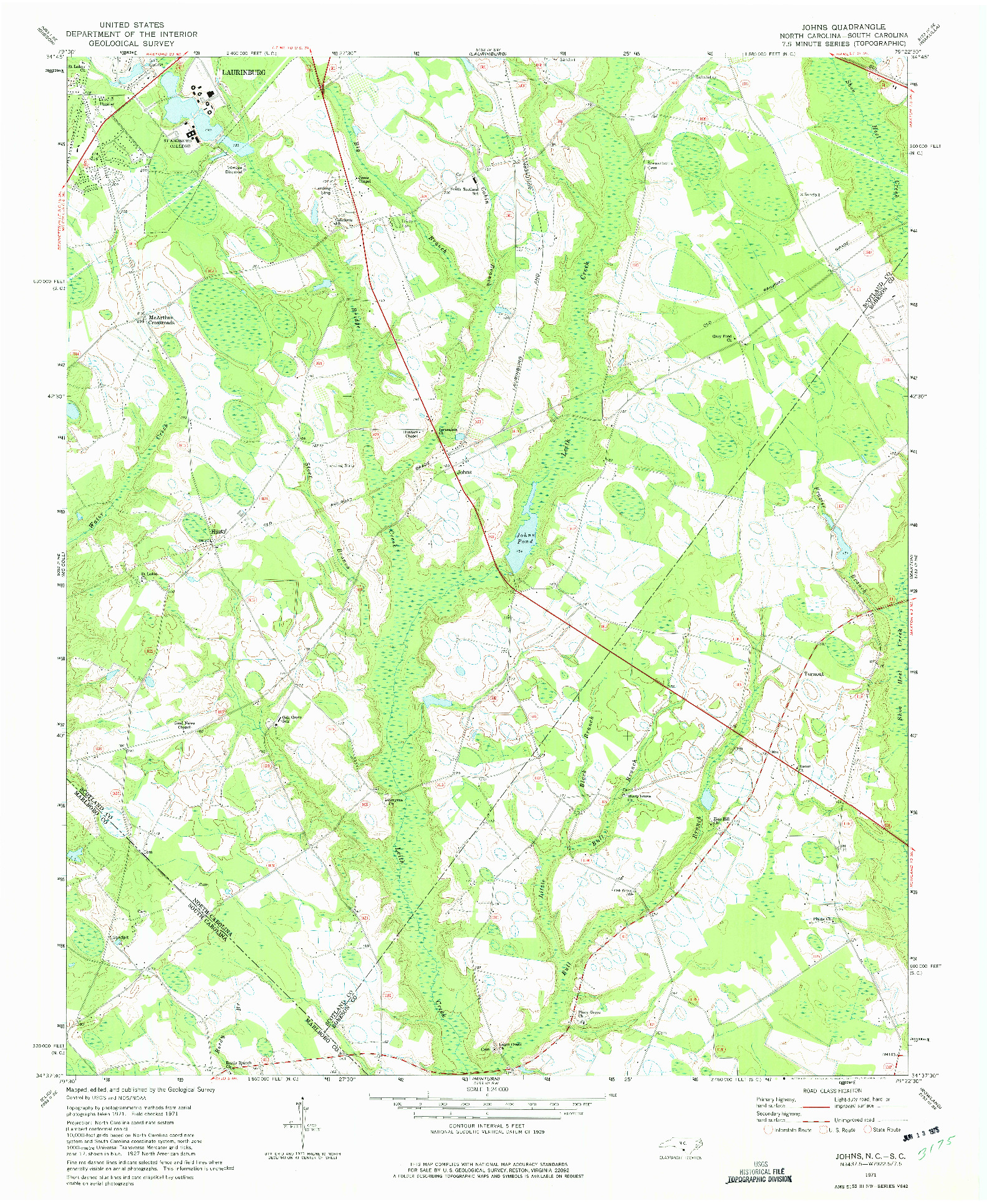 USGS 1:24000-SCALE QUADRANGLE FOR JOHNS, NC 1971