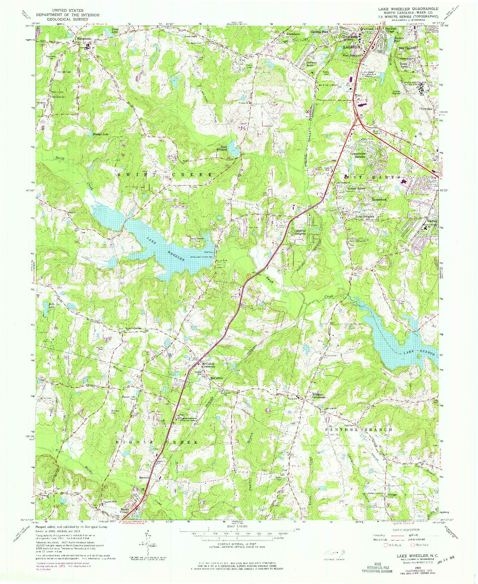 USGS 1:24000-SCALE QUADRANGLE FOR LAKE WHEELER, NC 1964