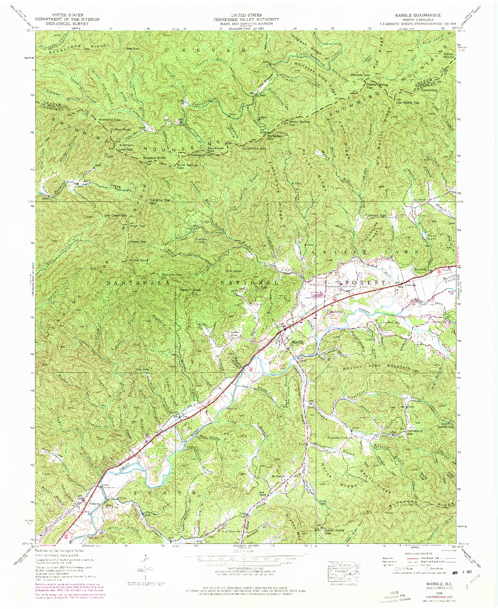 USGS 1:24000-SCALE QUADRANGLE FOR MARBLE, NC 1938