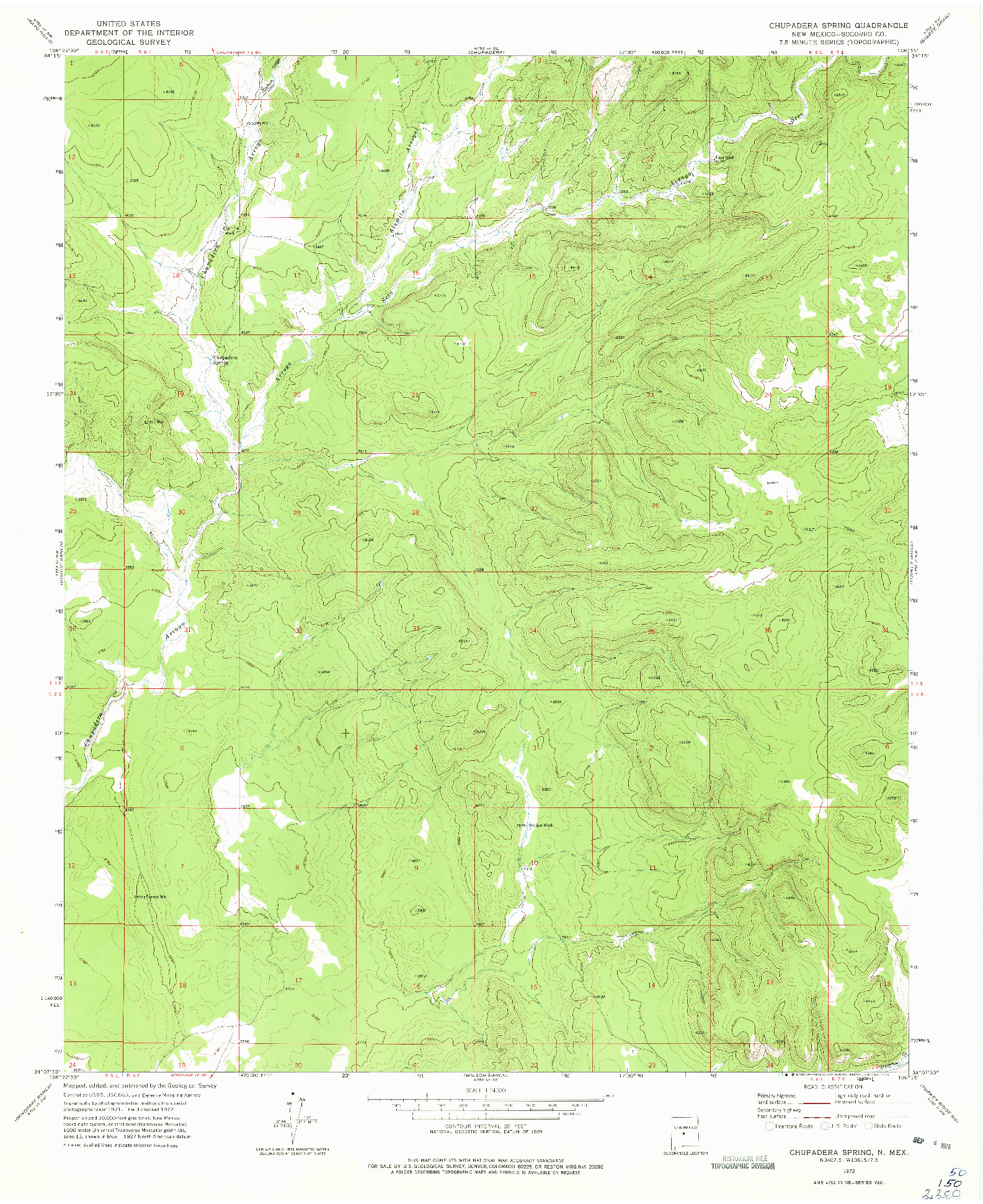 USGS 1:24000-SCALE QUADRANGLE FOR CHUPADERA SPRING, NM 1972
