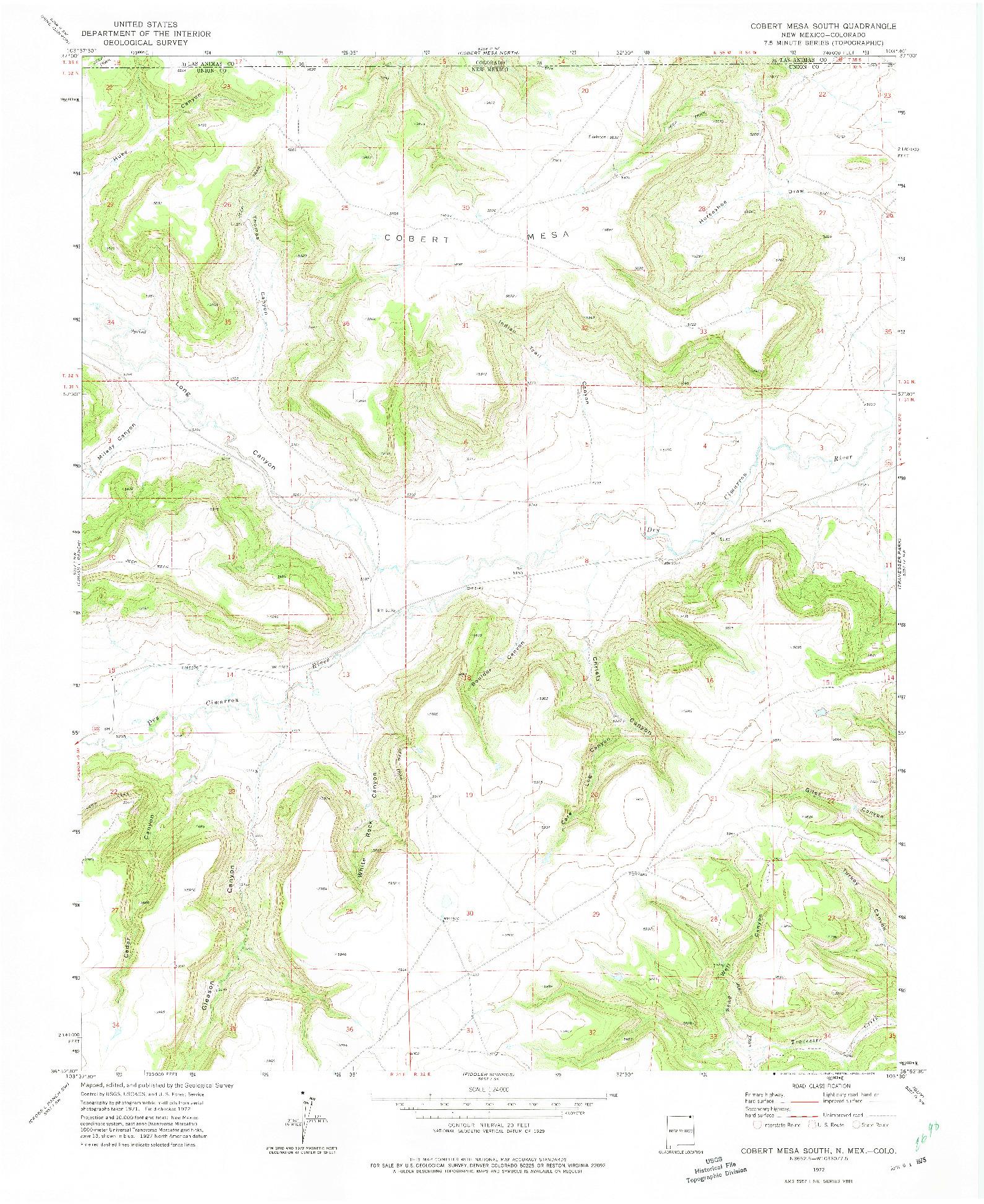 USGS 1:24000-SCALE QUADRANGLE FOR COBERT MESA SOUTH, NM 1972