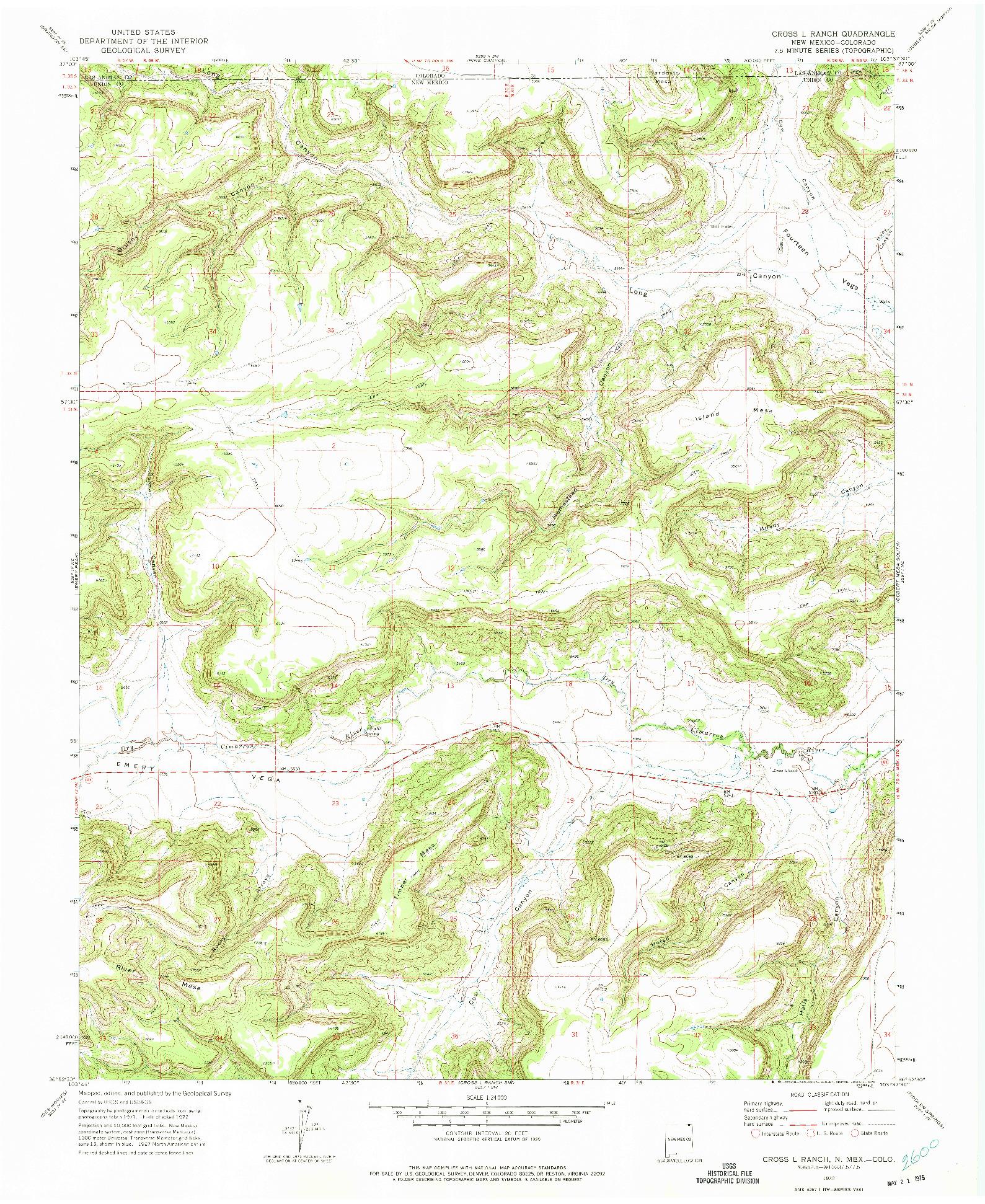 USGS 1:24000-SCALE QUADRANGLE FOR CROSS L RANCH, NM 1972