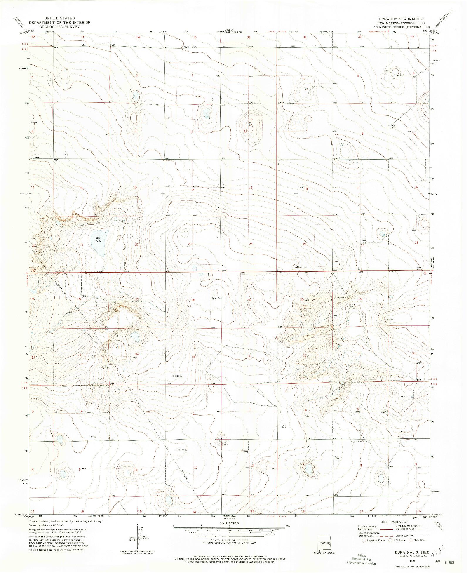 USGS 1:24000-SCALE QUADRANGLE FOR DORA NW, NM 1972