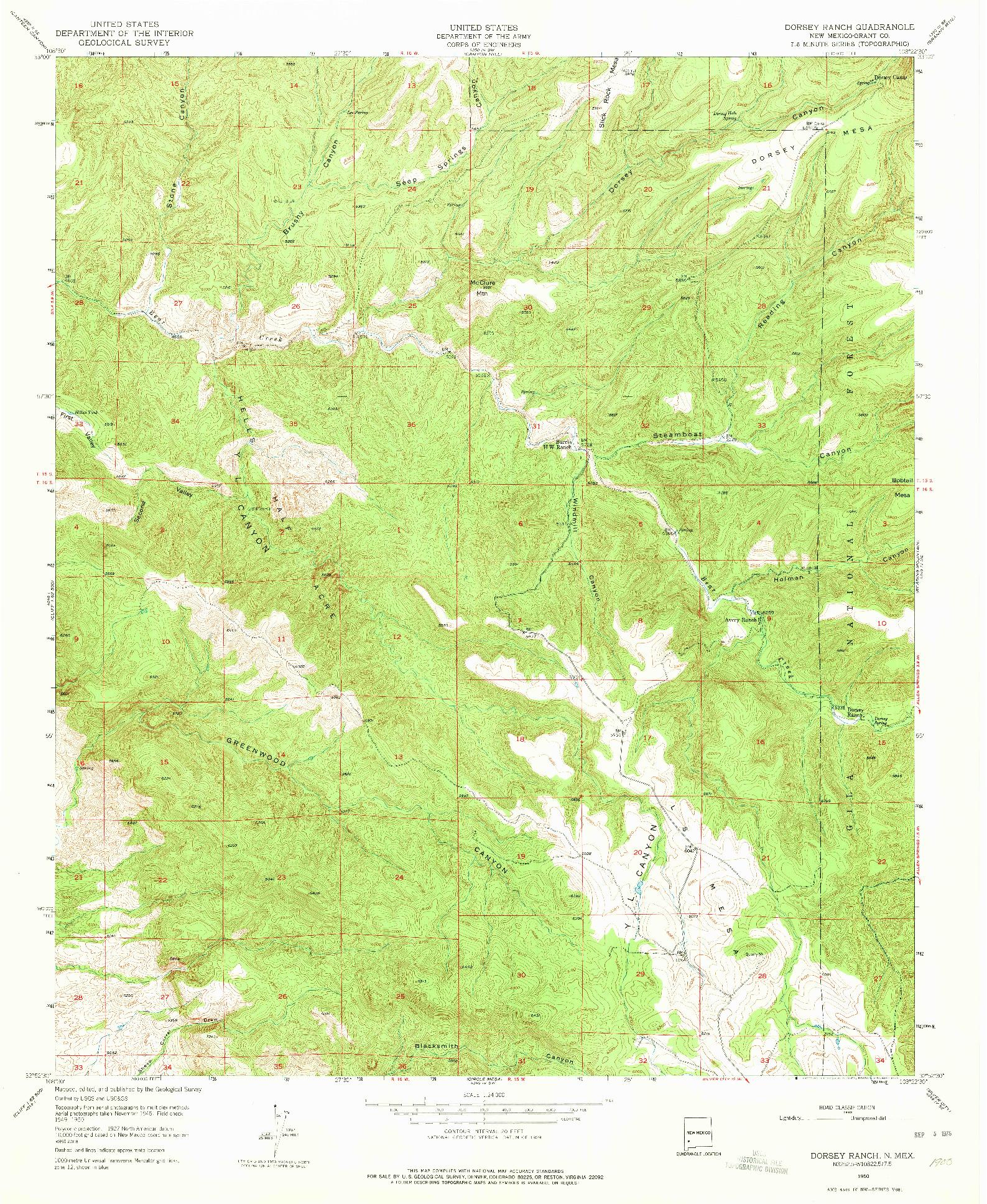 USGS 1:24000-SCALE QUADRANGLE FOR DORSEY RANCH, NM 1950