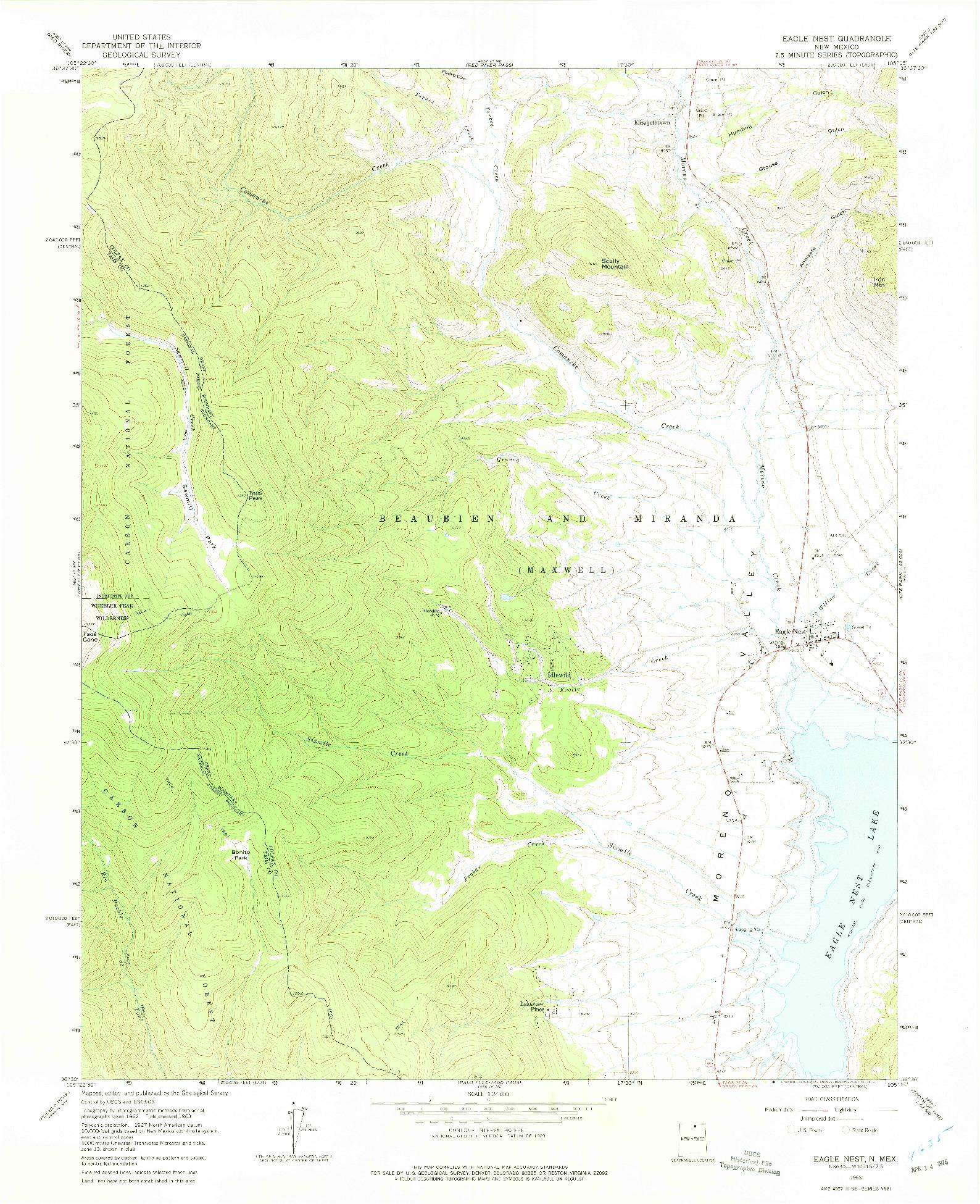 USGS 1:24000-SCALE QUADRANGLE FOR EAGLE NEST, NM 1963