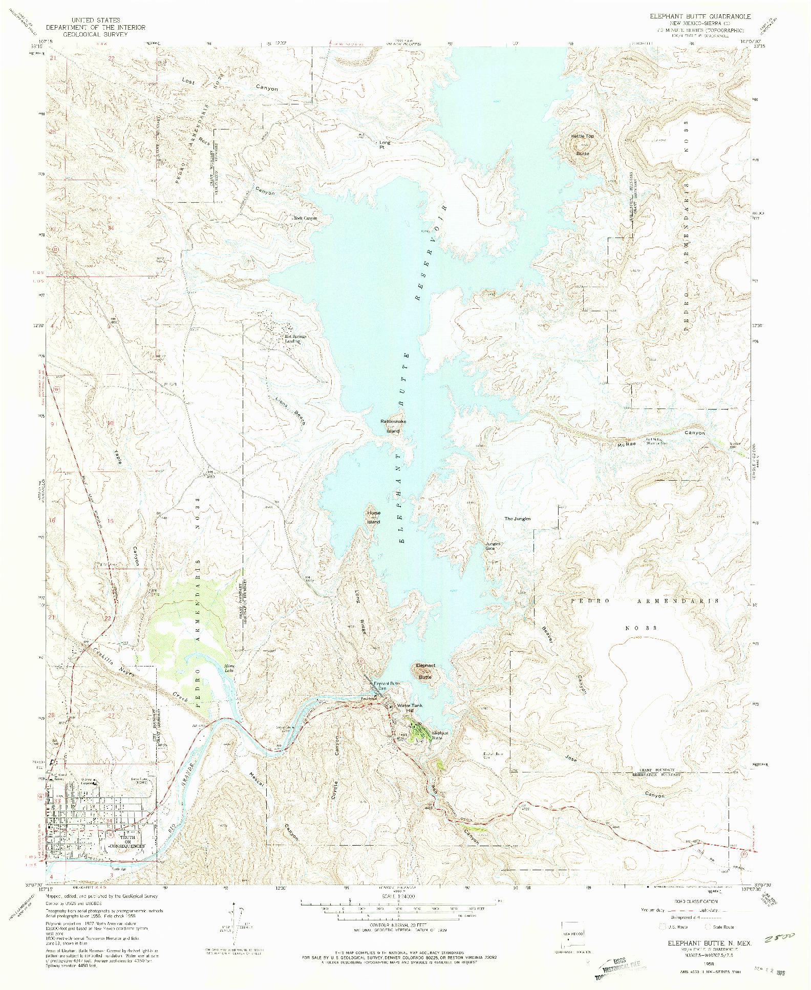 USGS 1:24000-SCALE QUADRANGLE FOR ELEPHANT BUTTE, NM 1958