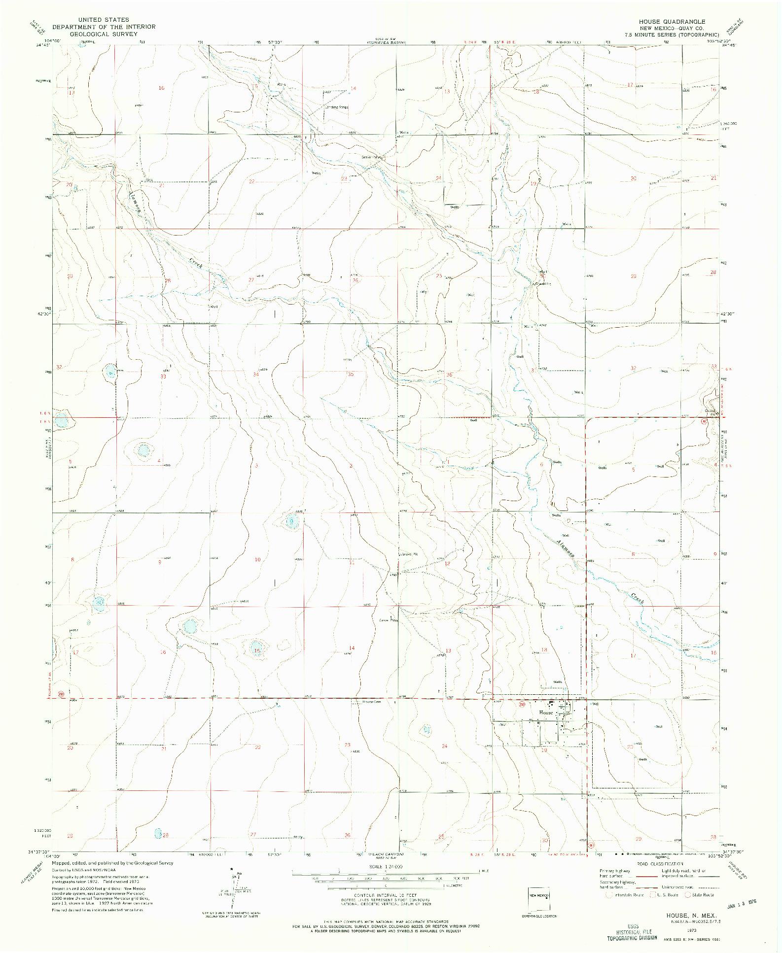 USGS 1:24000-SCALE QUADRANGLE FOR HOUSE, NM 1973
