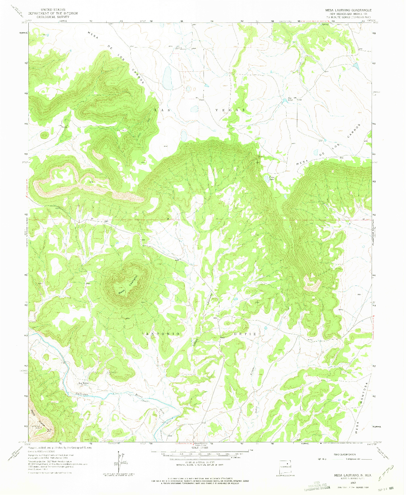 USGS 1:24000-SCALE QUADRANGLE FOR MESA LAURIANO, NM 1963