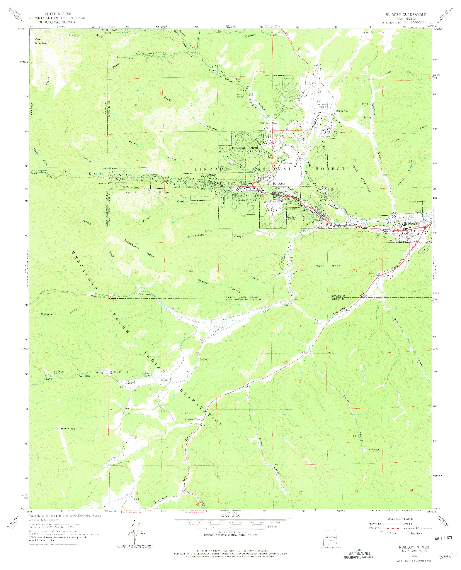 USGS 1:24000-SCALE QUADRANGLE FOR RUIDOSO, NM 1963