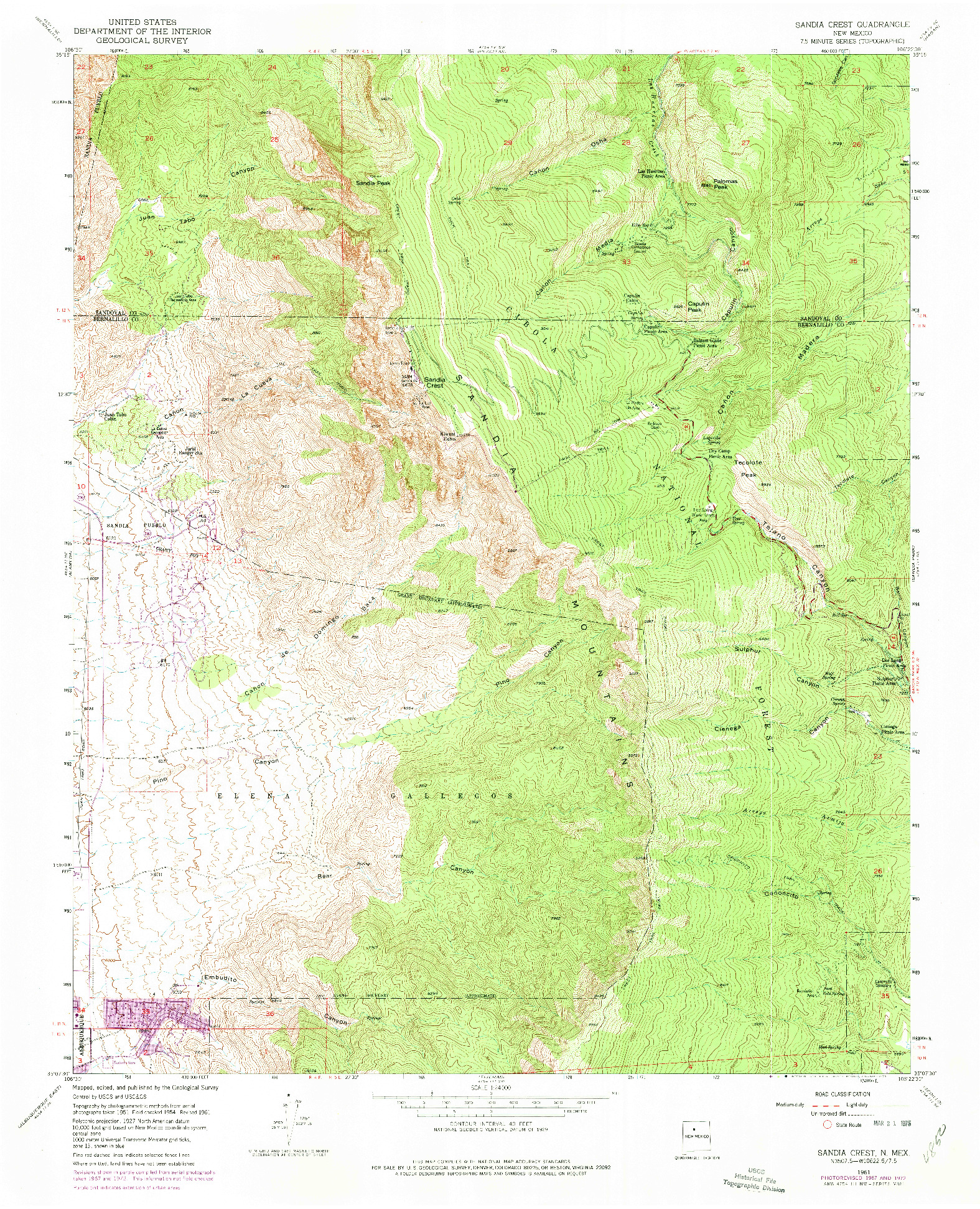 USGS 1:24000-SCALE QUADRANGLE FOR SANDIA CREST, NM 1961