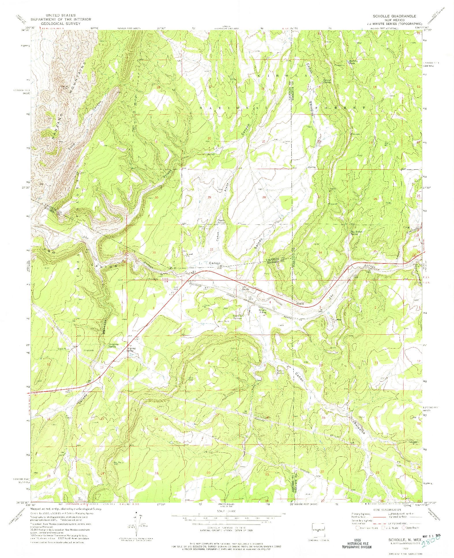 USGS 1:24000-SCALE QUADRANGLE FOR SCHOLLE, NM 1972