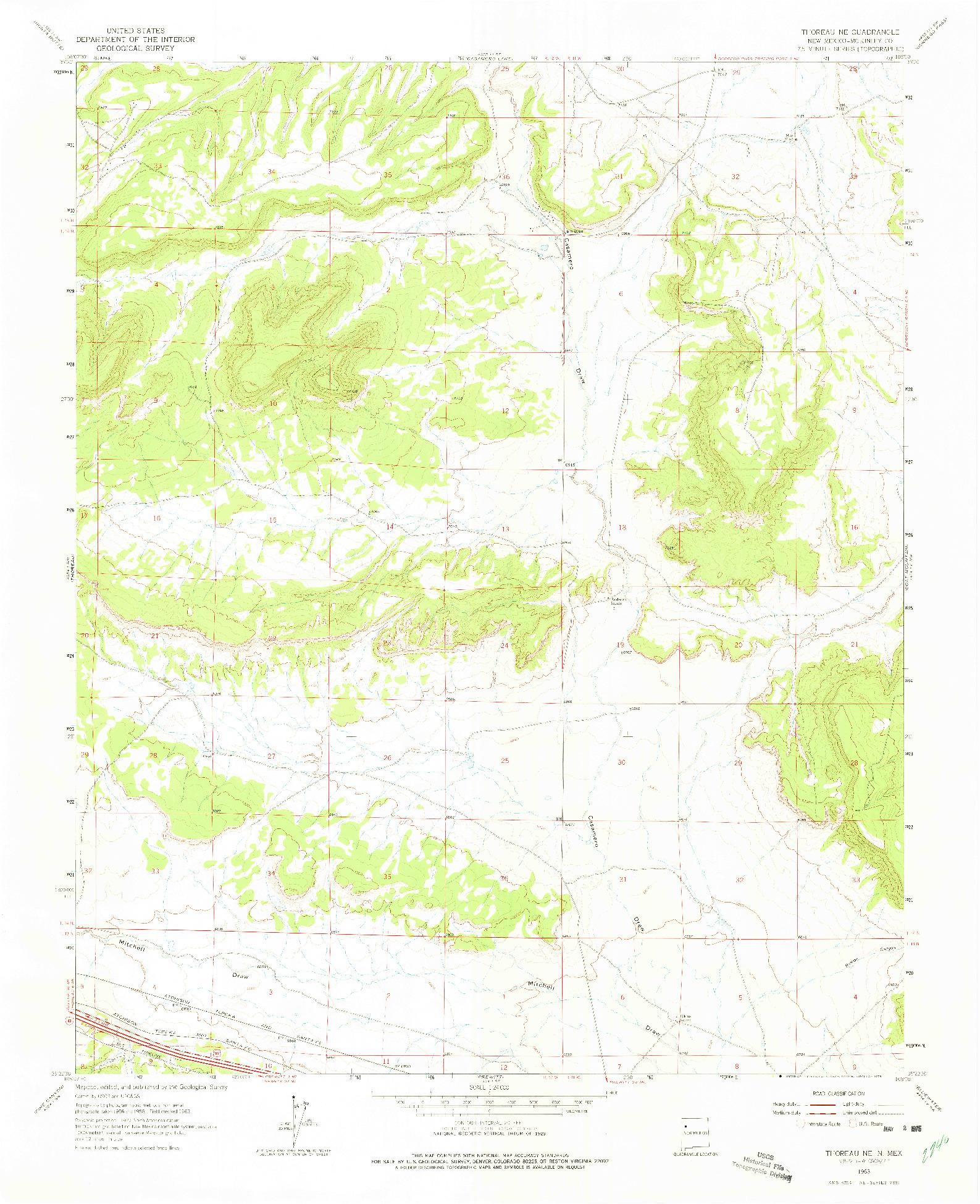 USGS 1:24000-SCALE QUADRANGLE FOR THOREAU, NM 1963