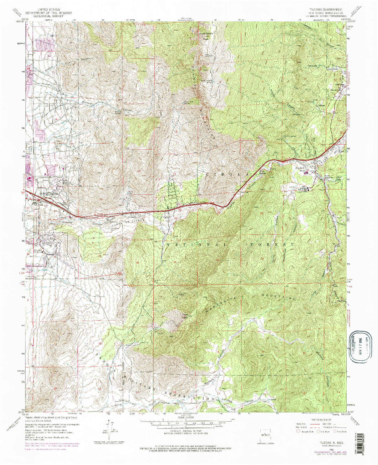 USGS 1:24000-SCALE QUADRANGLE FOR TIJERAS, NM 1961