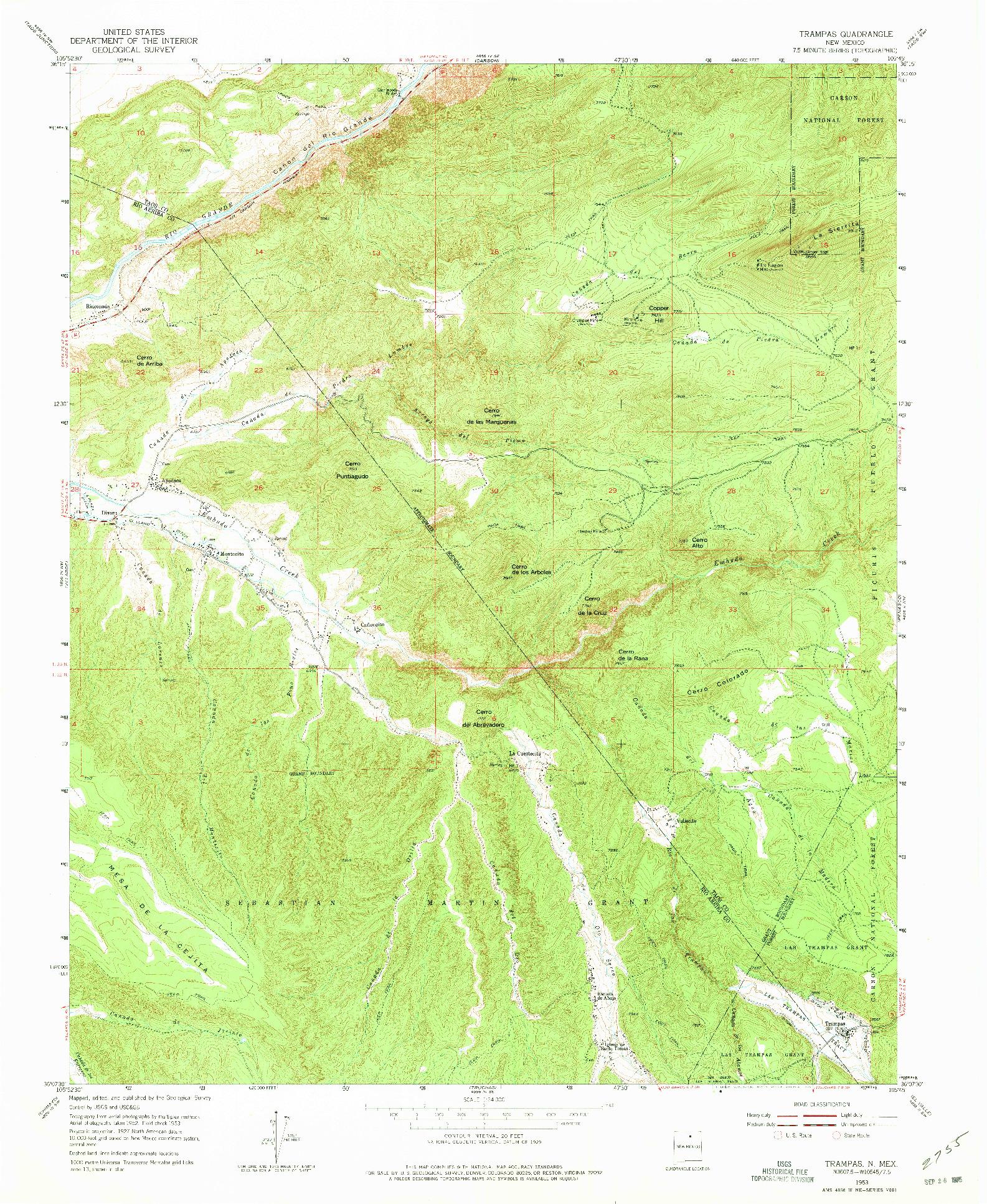 USGS 1:24000-SCALE QUADRANGLE FOR TRAMPAS, NM 1953