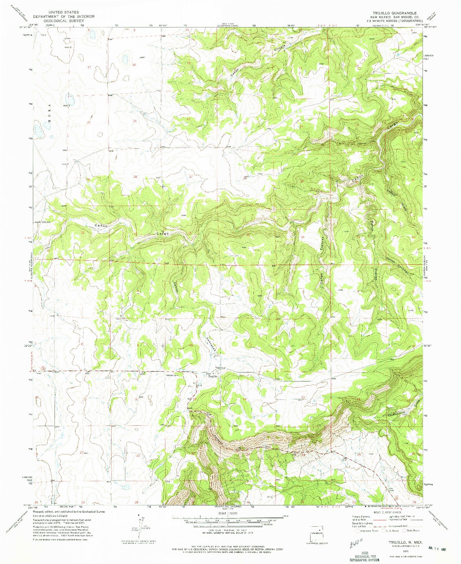 USGS 1:24000-SCALE QUADRANGLE FOR TRUJILLO, NM 1971