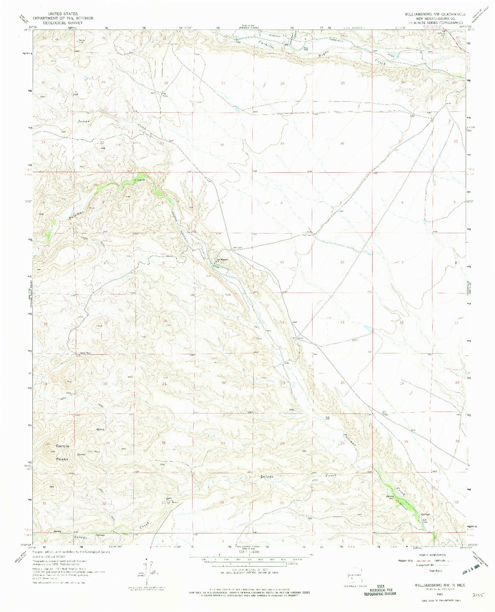 USGS 1:24000-SCALE QUADRANGLE FOR WILLIAMSBURG NW, NM 1961