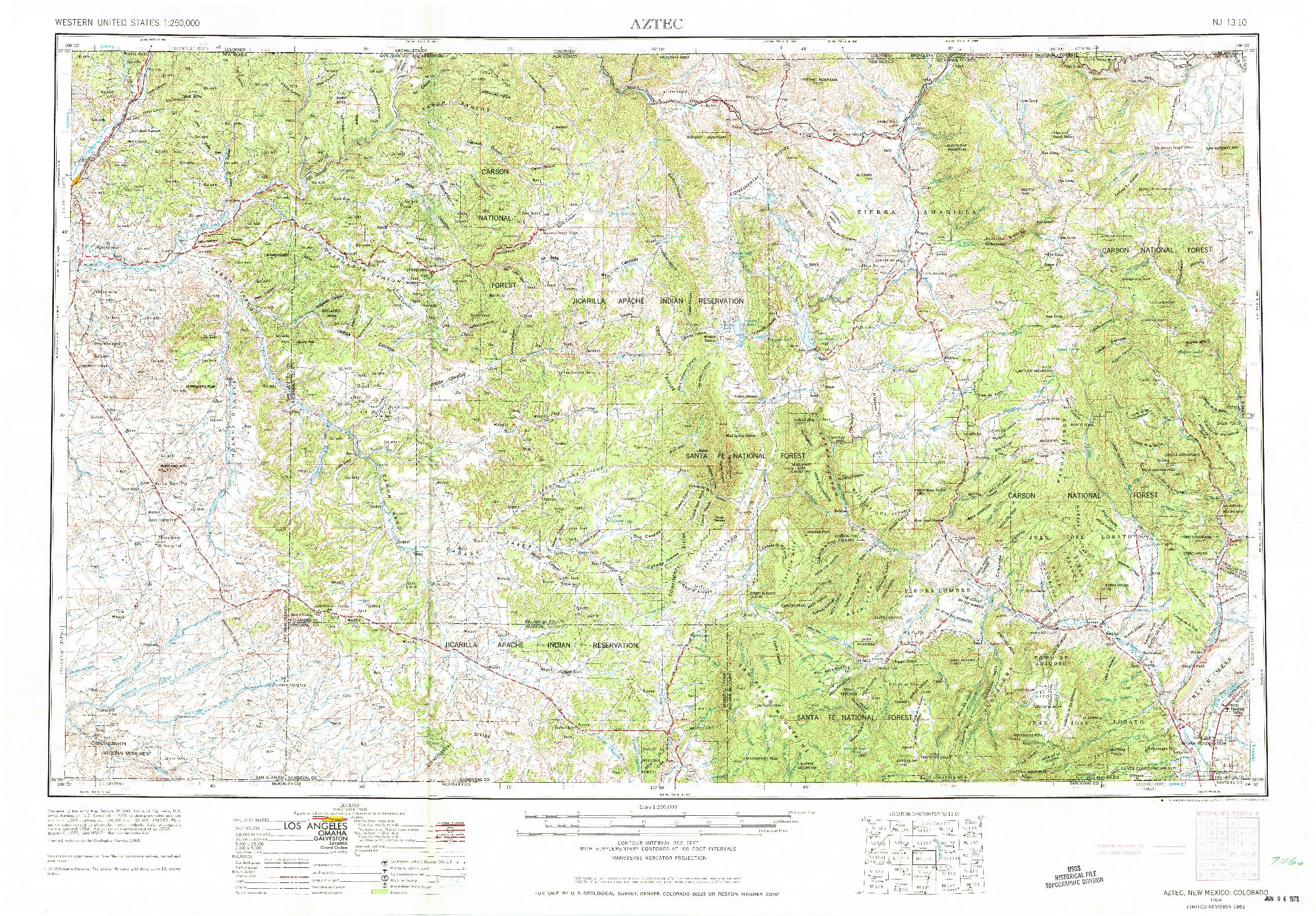 USGS 1:250000-SCALE QUADRANGLE FOR AZTEC, NM 1954