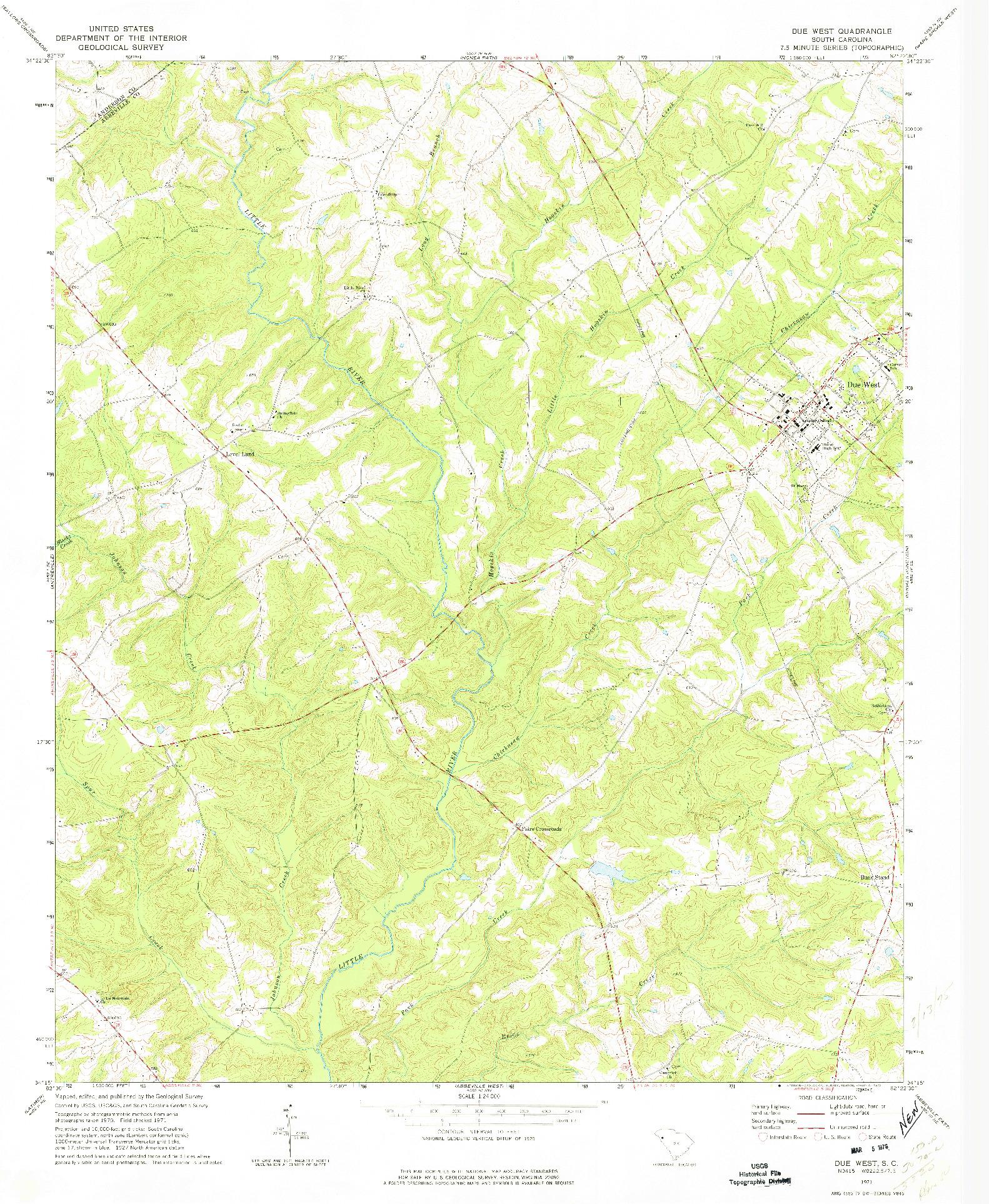 USGS 1:24000-SCALE QUADRANGLE FOR DUE WEST, SC 1971