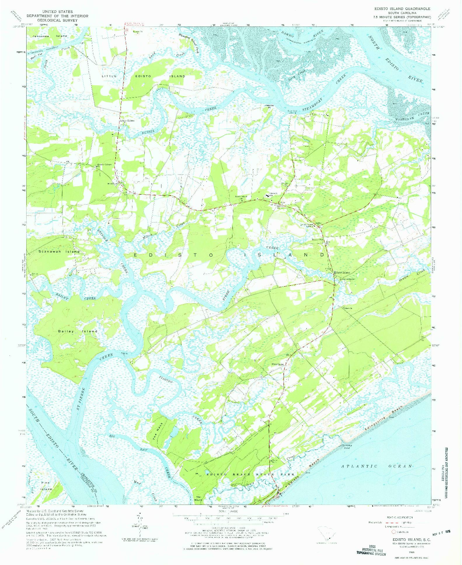 USGS 1:24000-SCALE QUADRANGLE FOR EDISTO ISLAND, SC 1960