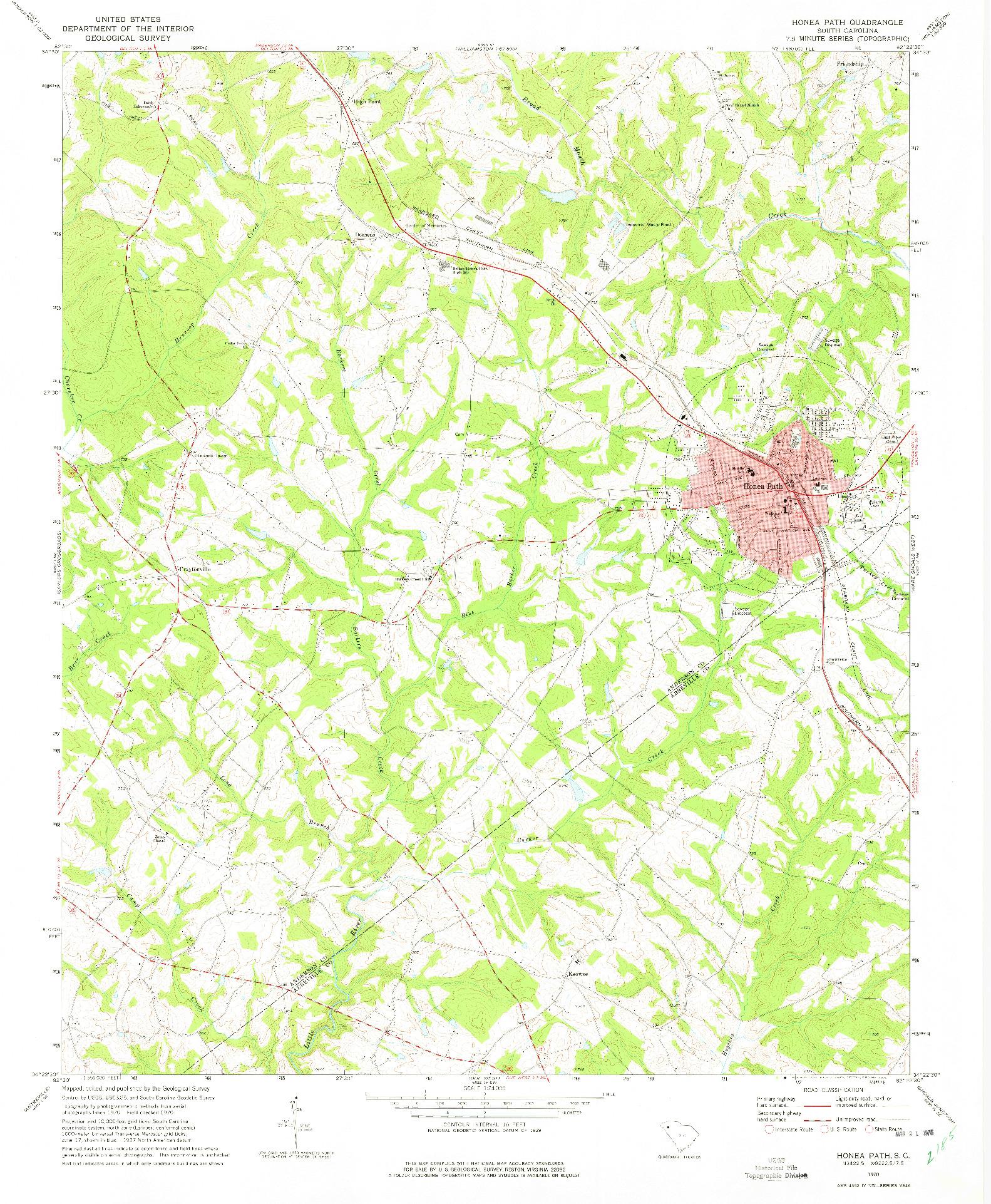 USGS 1:24000-SCALE QUADRANGLE FOR HONEA PATH, SC 1970