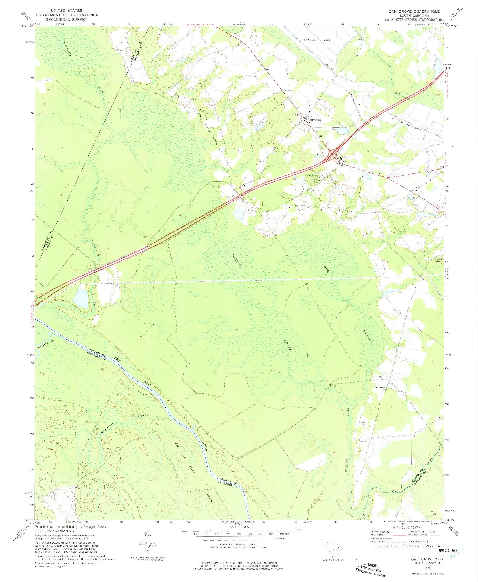 USGS 1:24000-SCALE QUADRANGLE FOR OAK GROVE, SC 1972