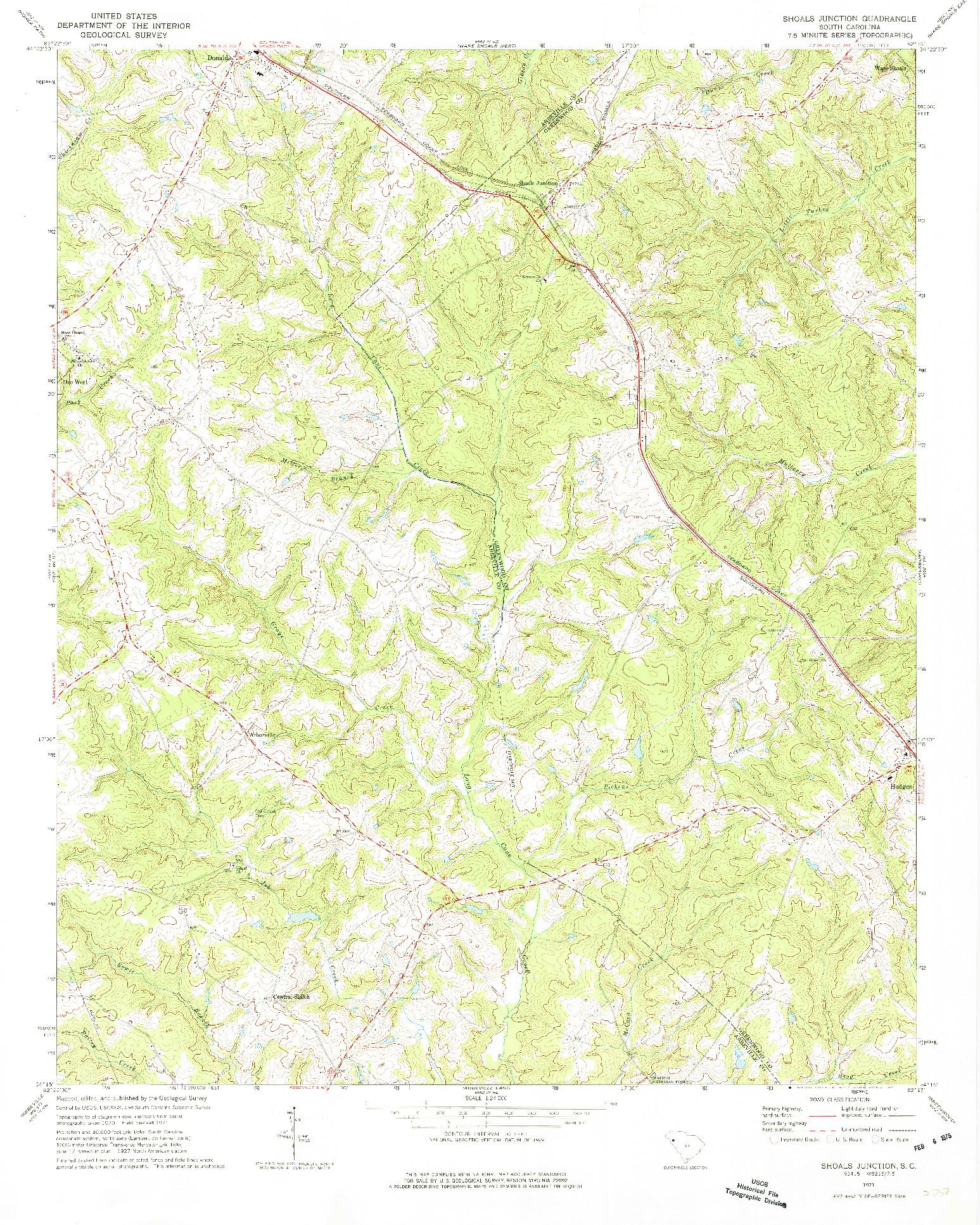 USGS 1:24000-SCALE QUADRANGLE FOR SHOALS JUNCTION, SC 1971