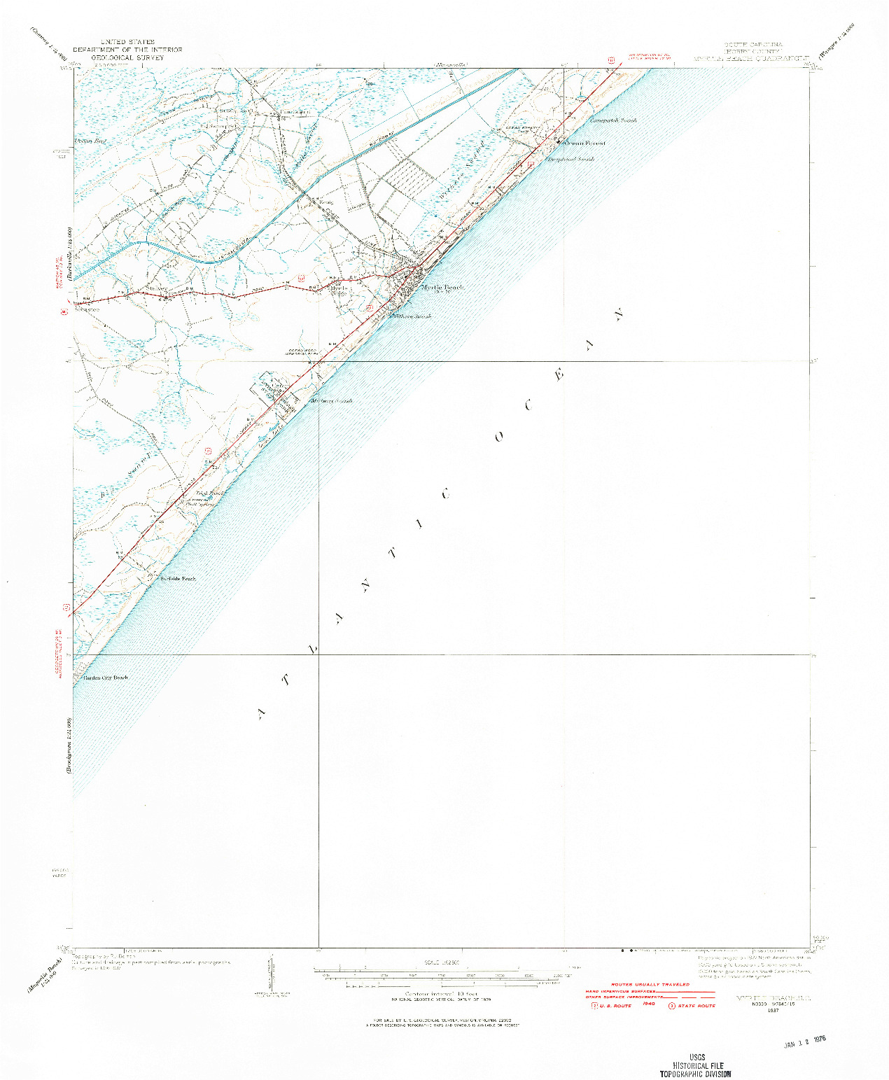 USGS 1:62500-SCALE QUADRANGLE FOR MYRTLE BEACH, SC 1937