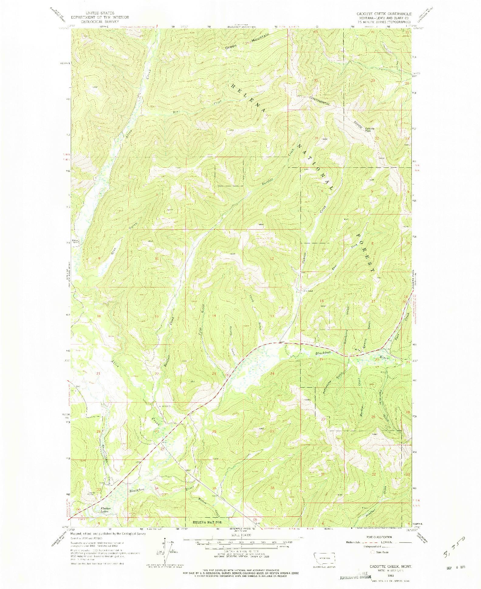 USGS 1:24000-SCALE QUADRANGLE FOR CADOTTE CREEK, MT 1963