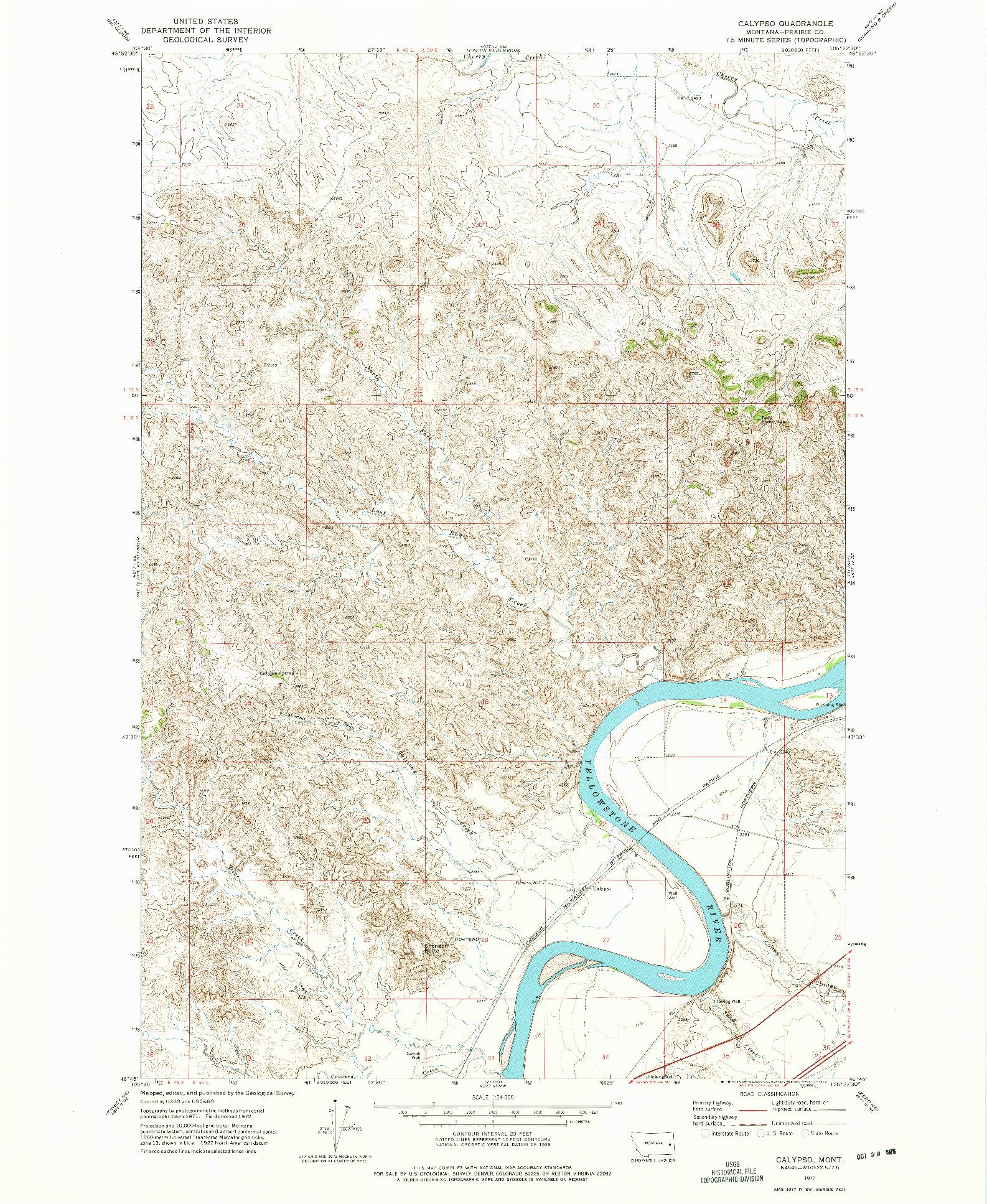 USGS 1:24000-SCALE QUADRANGLE FOR CALYPSO, MT 1972