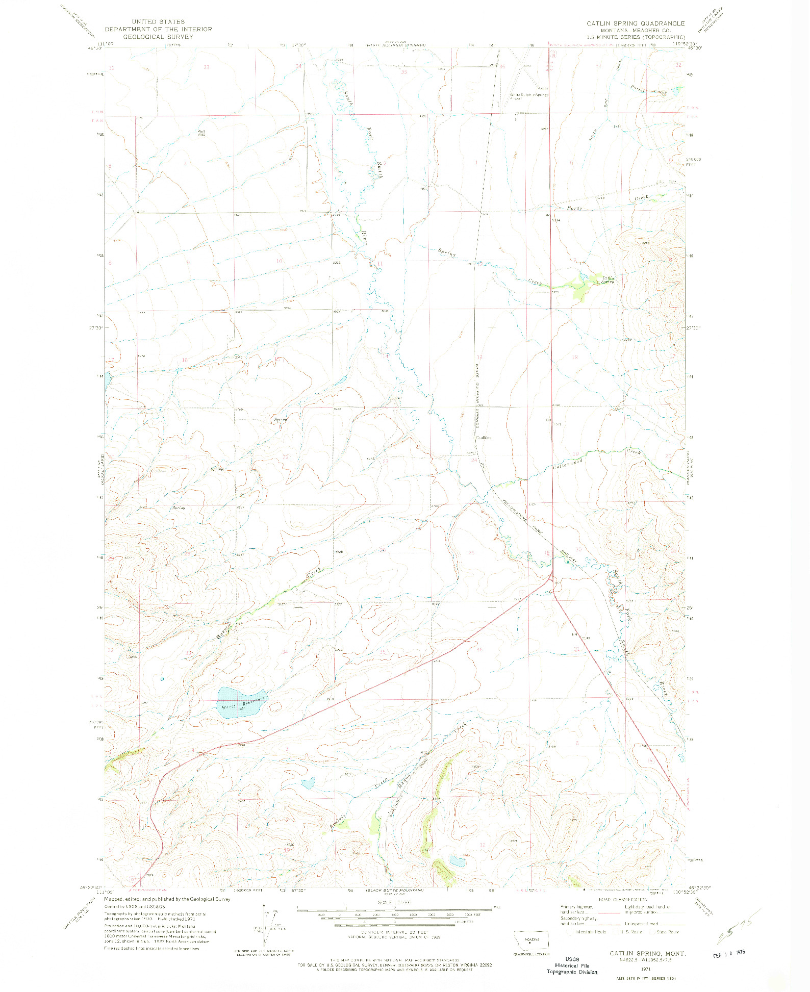 USGS 1:24000-SCALE QUADRANGLE FOR CATLIN SPRING, MT 1971