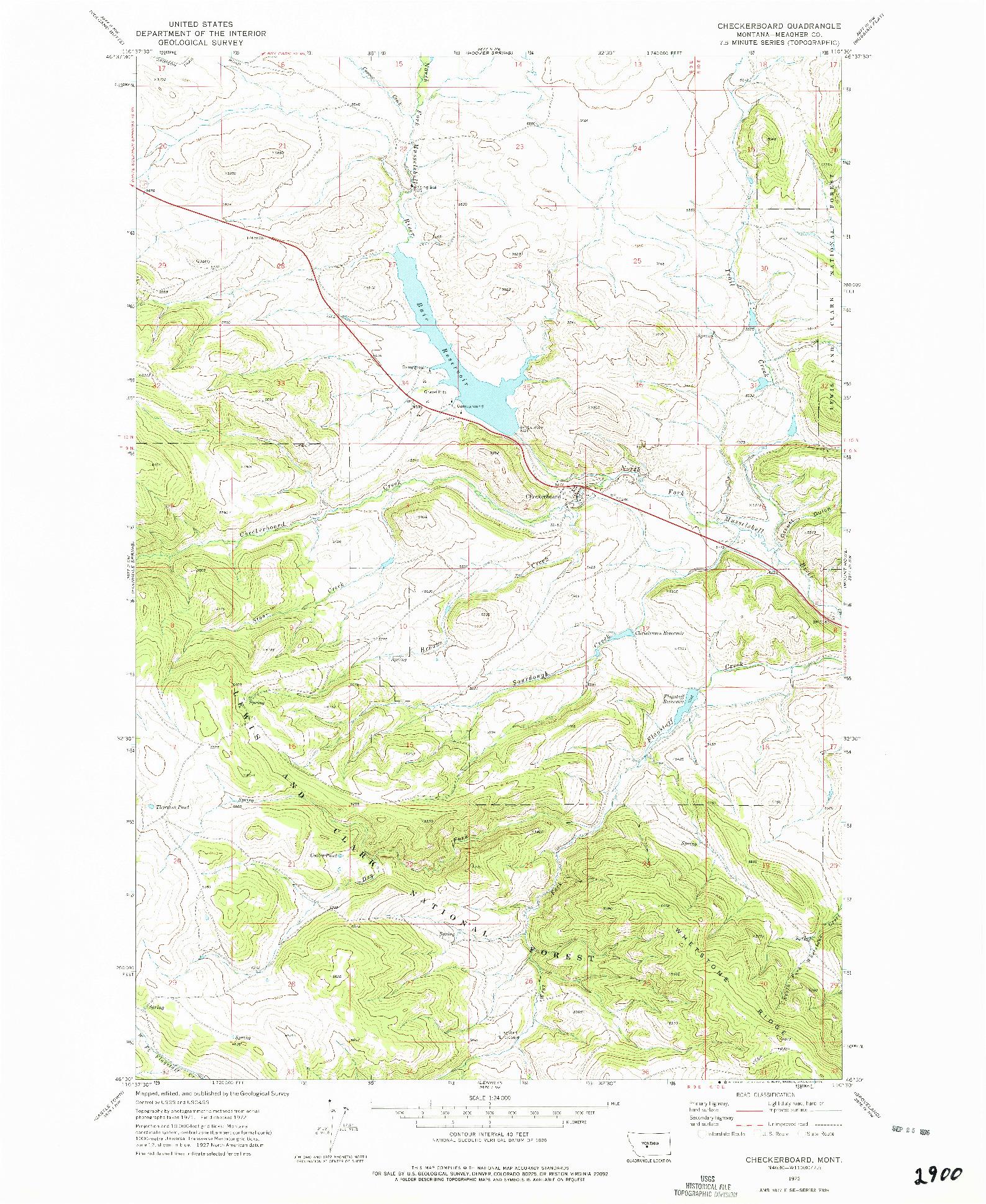 USGS 1:24000-SCALE QUADRANGLE FOR CHECKERBOARD, MT 1972