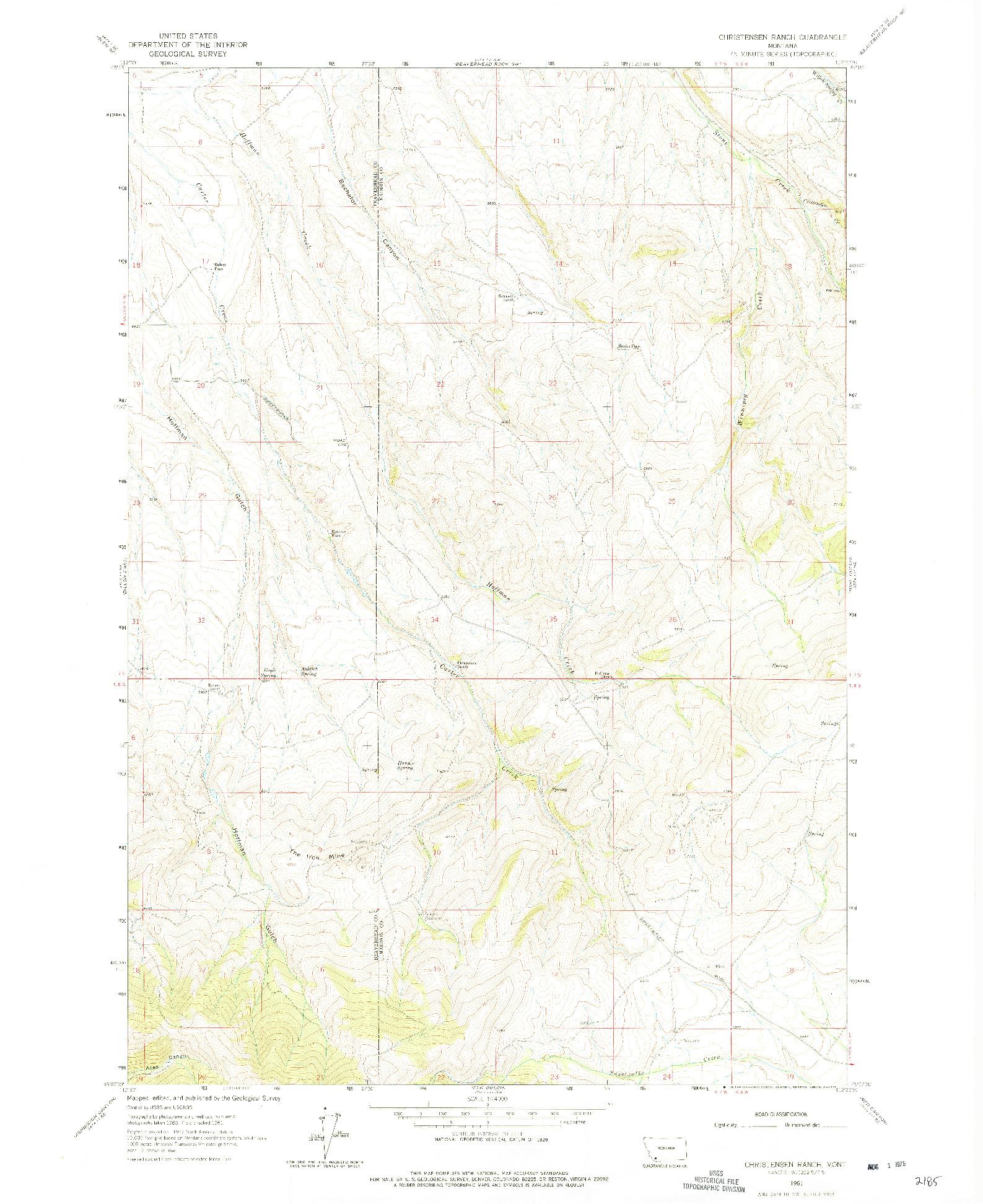 USGS 1:24000-SCALE QUADRANGLE FOR CHRISTENSEN RANCH, MT 1961