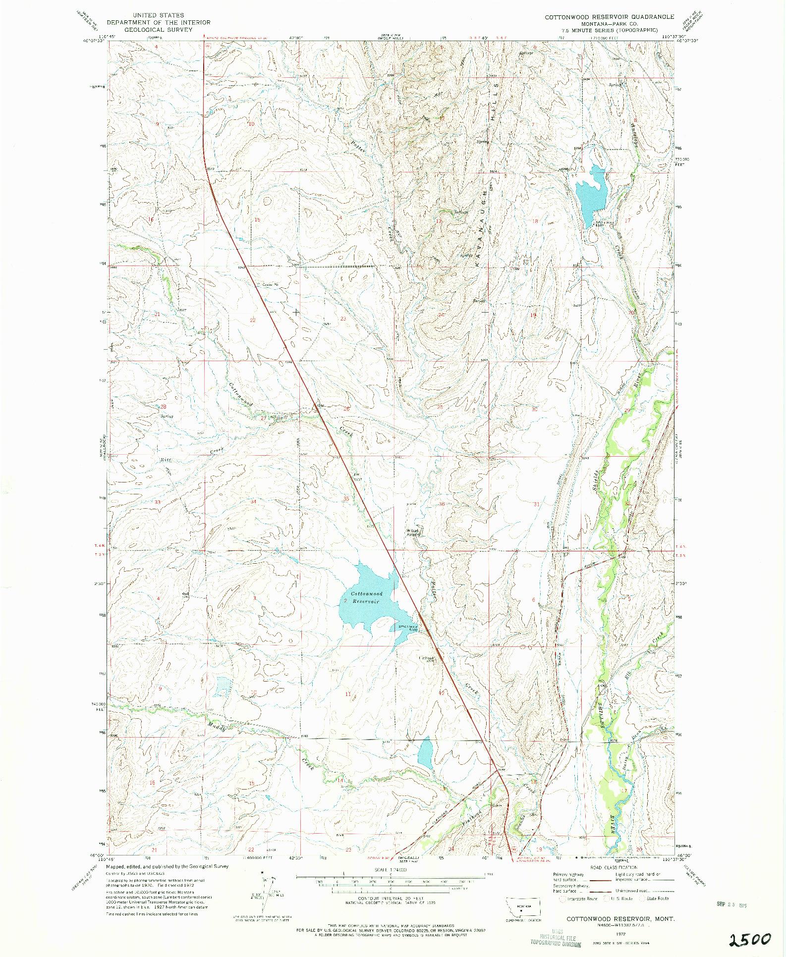 USGS 1:24000-SCALE QUADRANGLE FOR COTTONWOOD RESERVOIR, MT 1972