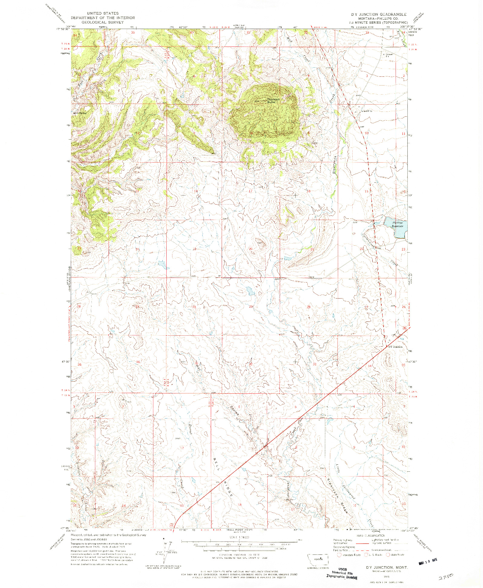 USGS 1:24000-SCALE QUADRANGLE FOR D Y JUNCTION, MT 1971