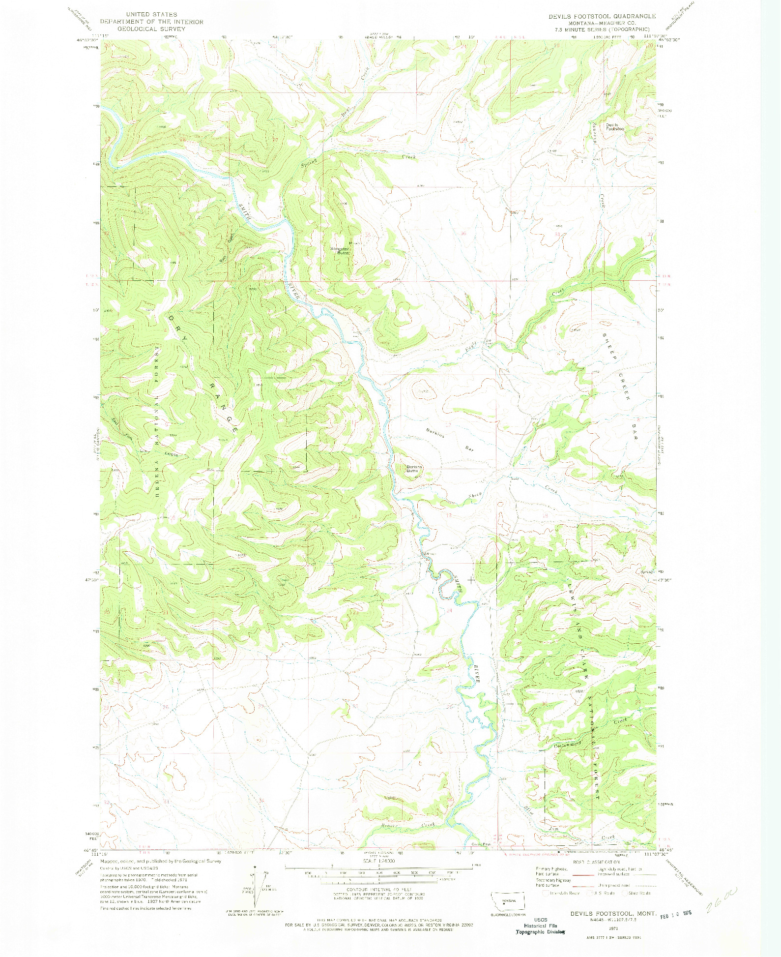 USGS 1:24000-SCALE QUADRANGLE FOR DEVILS FOOTSTOOL, MT 1971