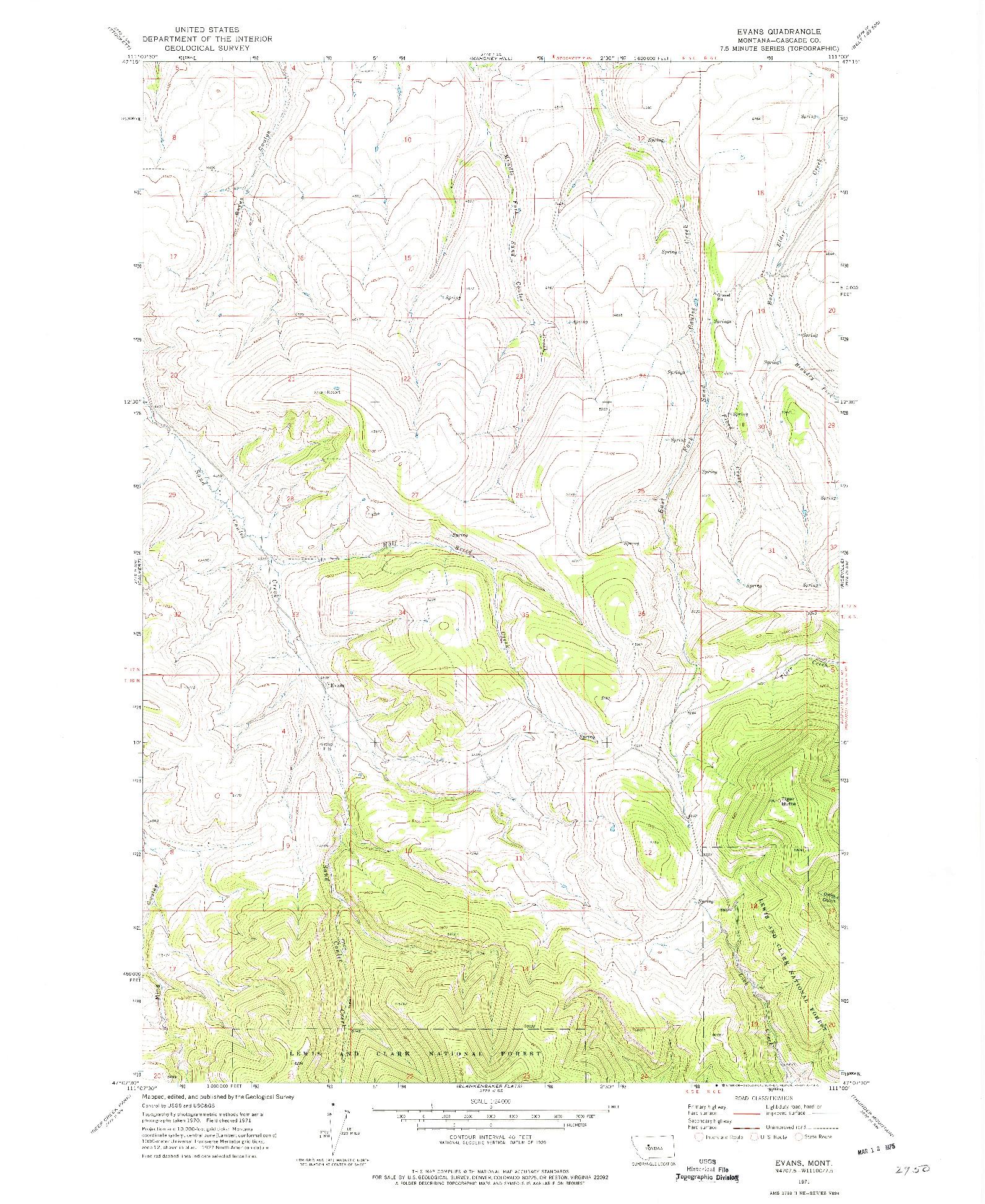 USGS 1:24000-SCALE QUADRANGLE FOR EVANS, MT 1971