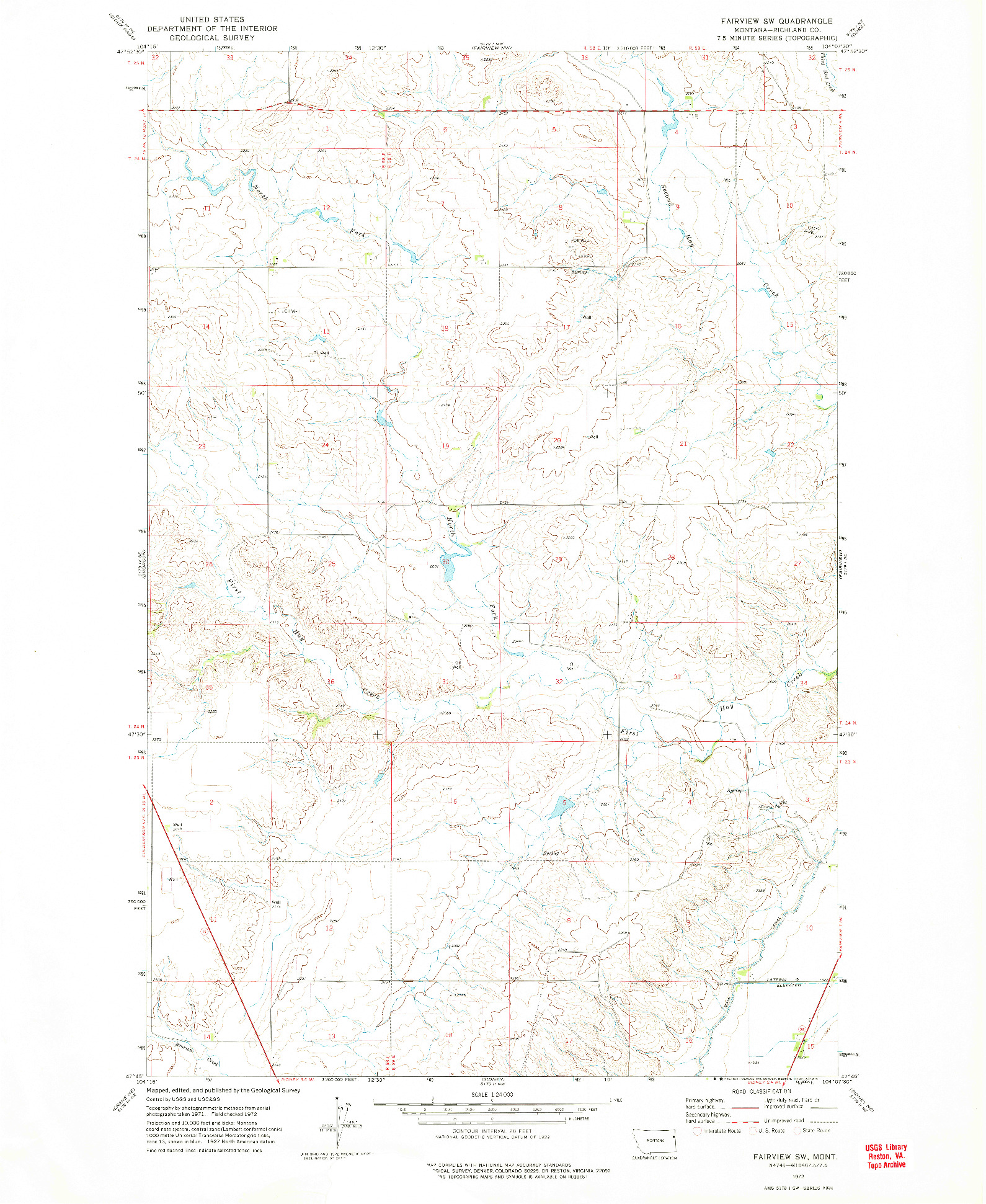 USGS 1:24000-SCALE QUADRANGLE FOR FAIRVIEW SW, MT 1972