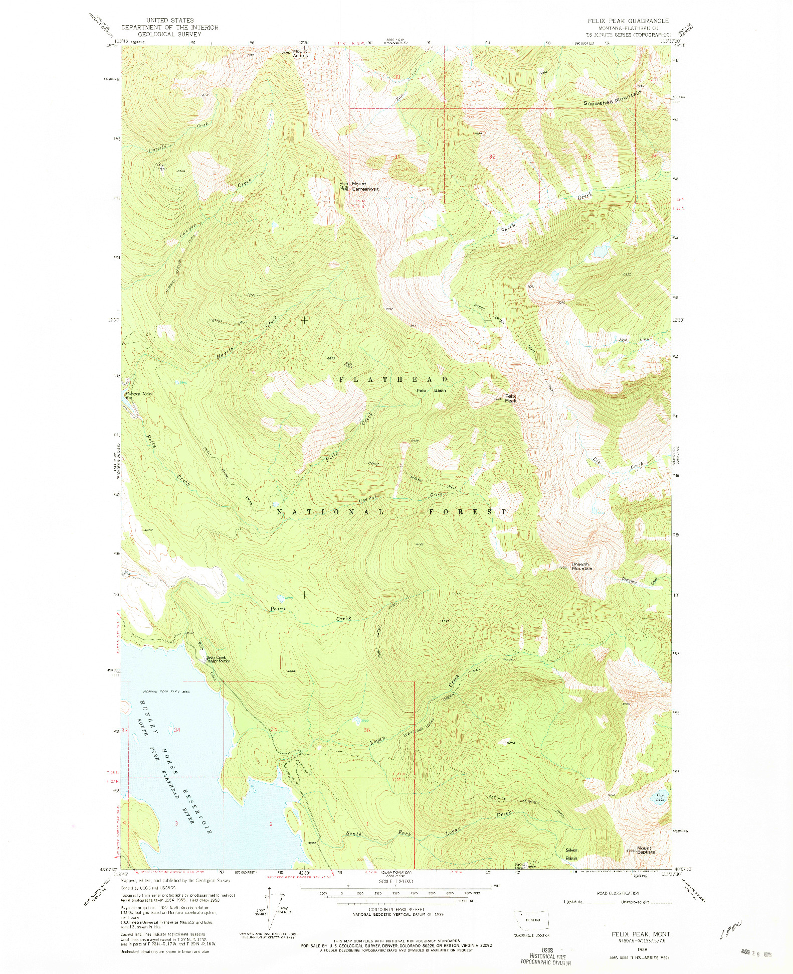 USGS 1:24000-SCALE QUADRANGLE FOR FELIX PEAK, MT 1958