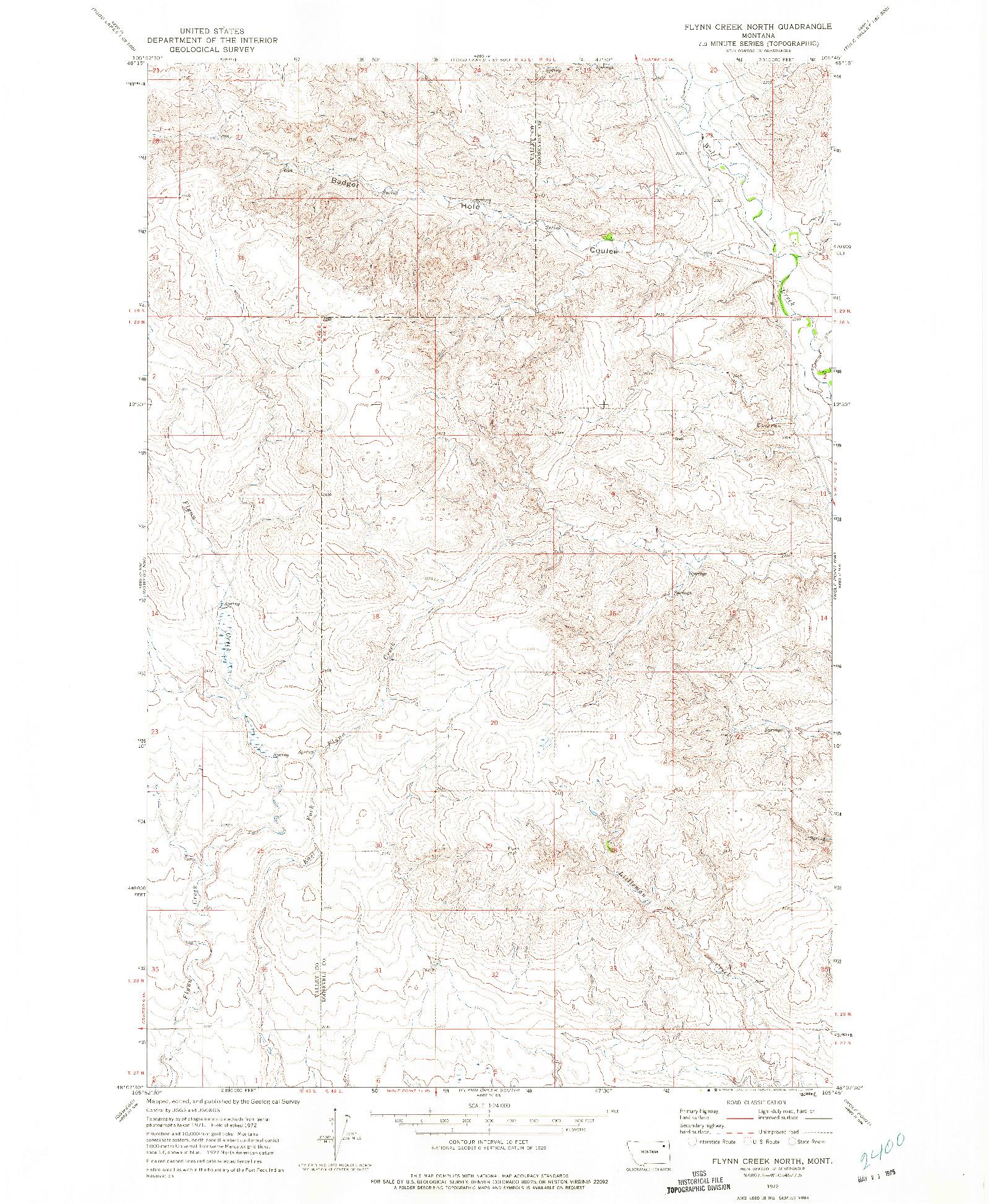 USGS 1:24000-SCALE QUADRANGLE FOR FLYNN CREEK NORTH, MT 1972