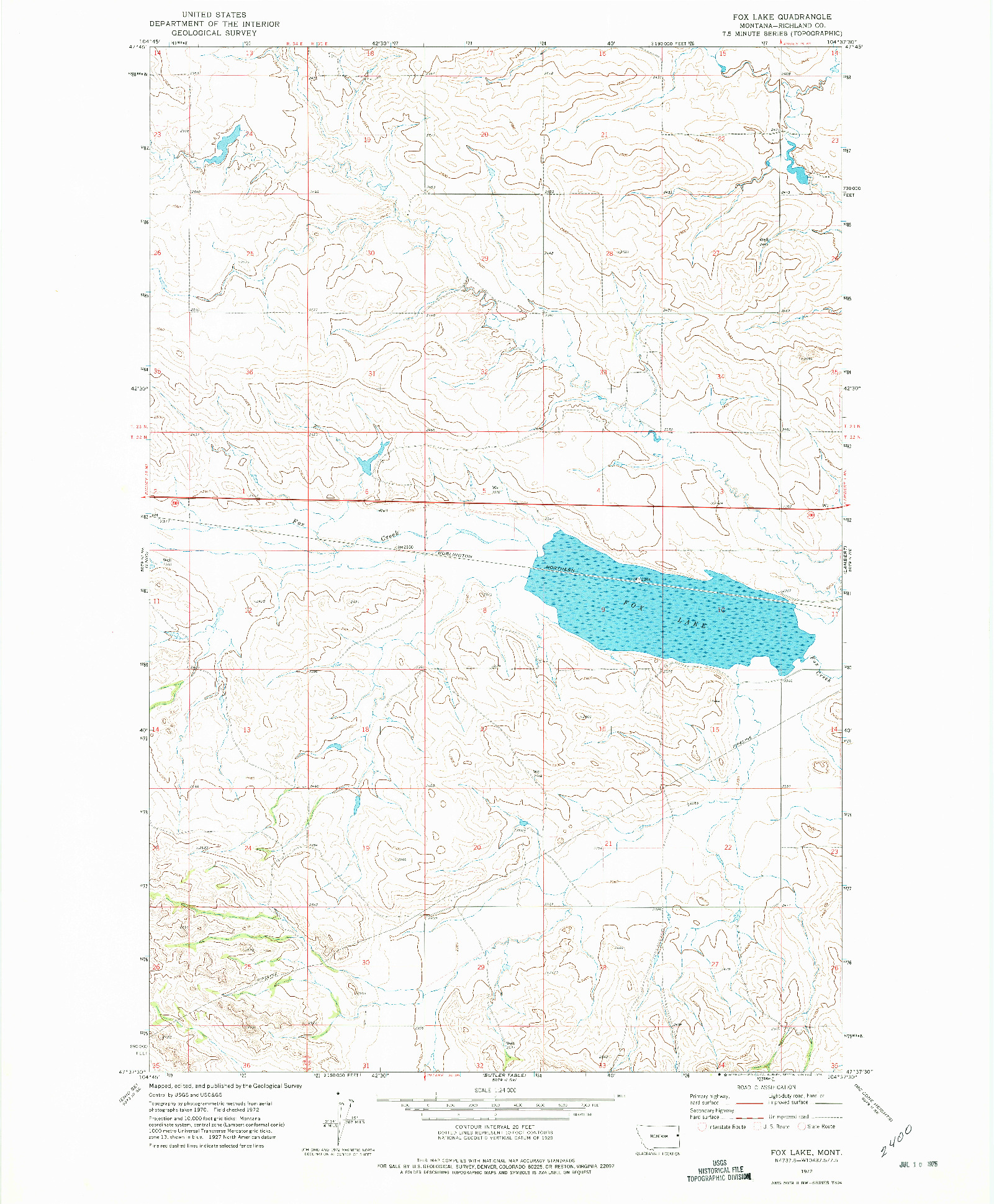 USGS 1:24000-SCALE QUADRANGLE FOR FOX LAKE, MT 1972