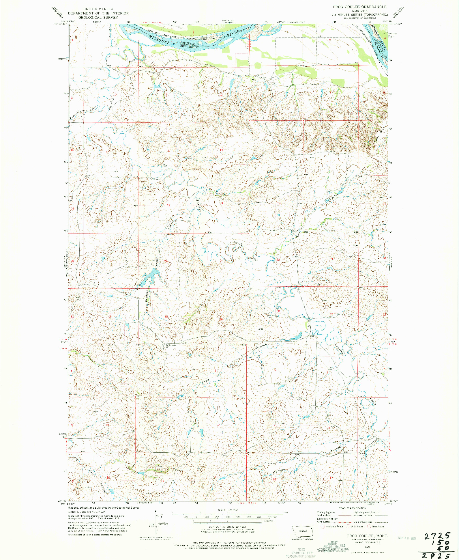 USGS 1:24000-SCALE QUADRANGLE FOR FROG COULEE, MT 1972