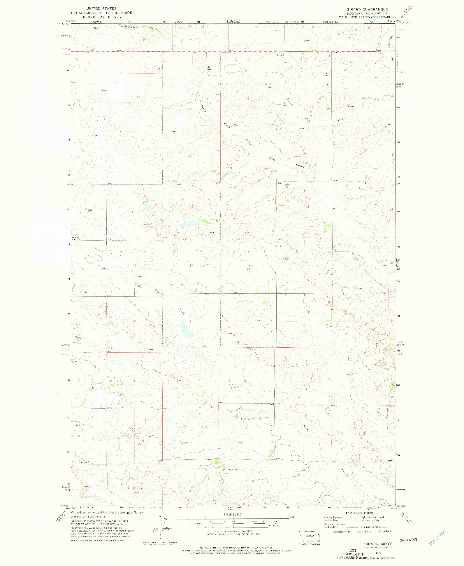 USGS 1:24000-SCALE QUADRANGLE FOR GIRARD, MT 1972