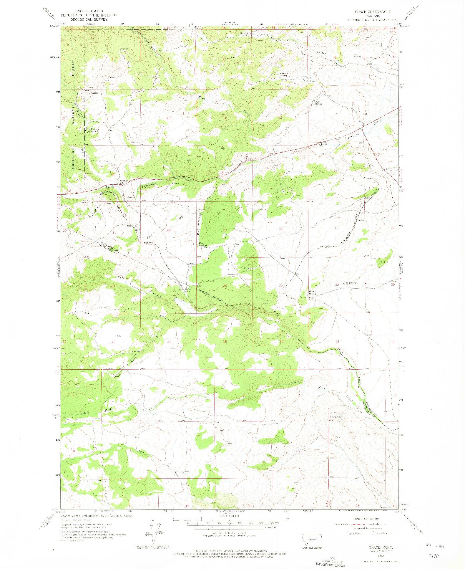 USGS 1:24000-SCALE QUADRANGLE FOR GRACE, MT 1963