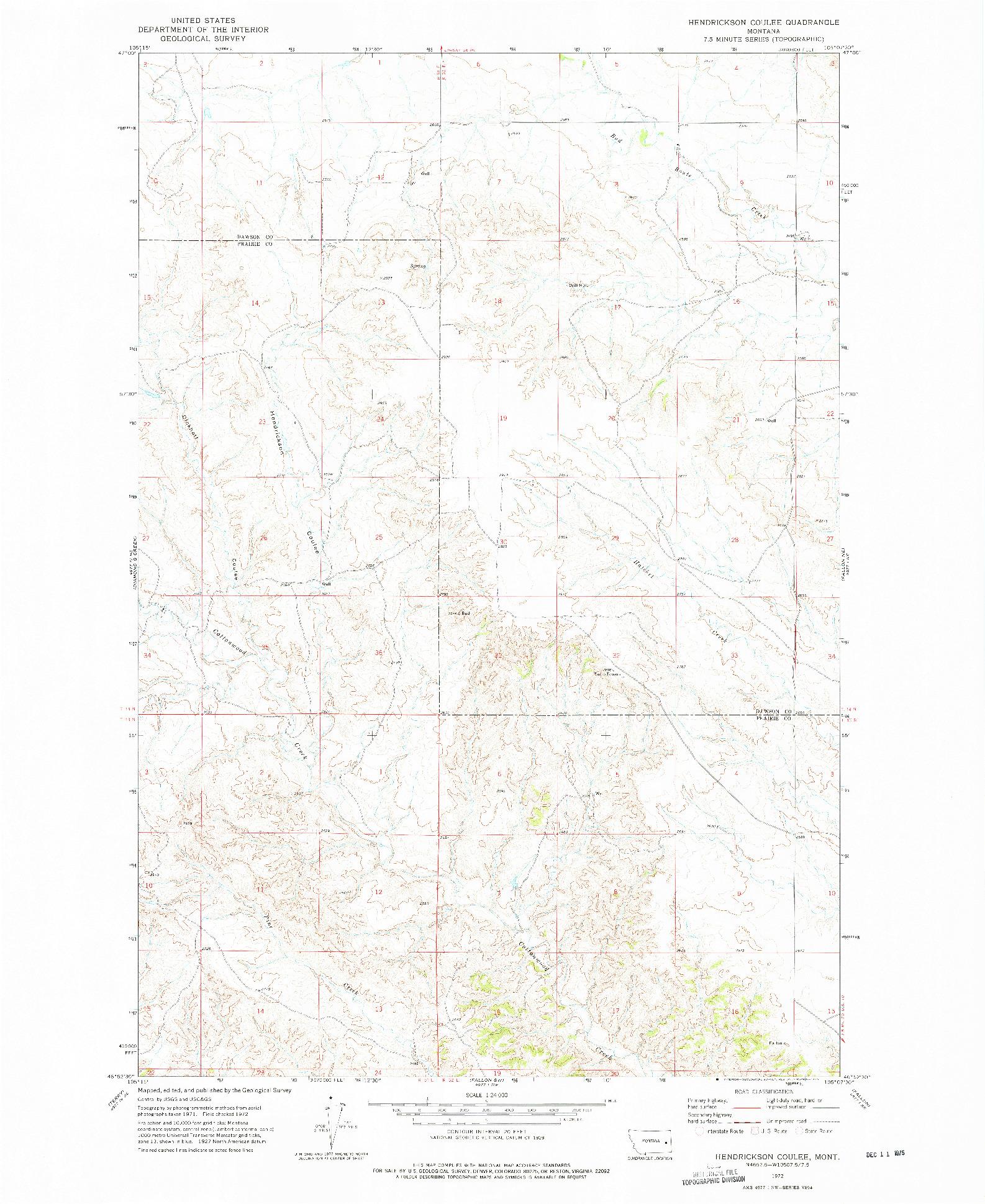 USGS 1:24000-SCALE QUADRANGLE FOR HENDRICKSON COULEE, MT 1972