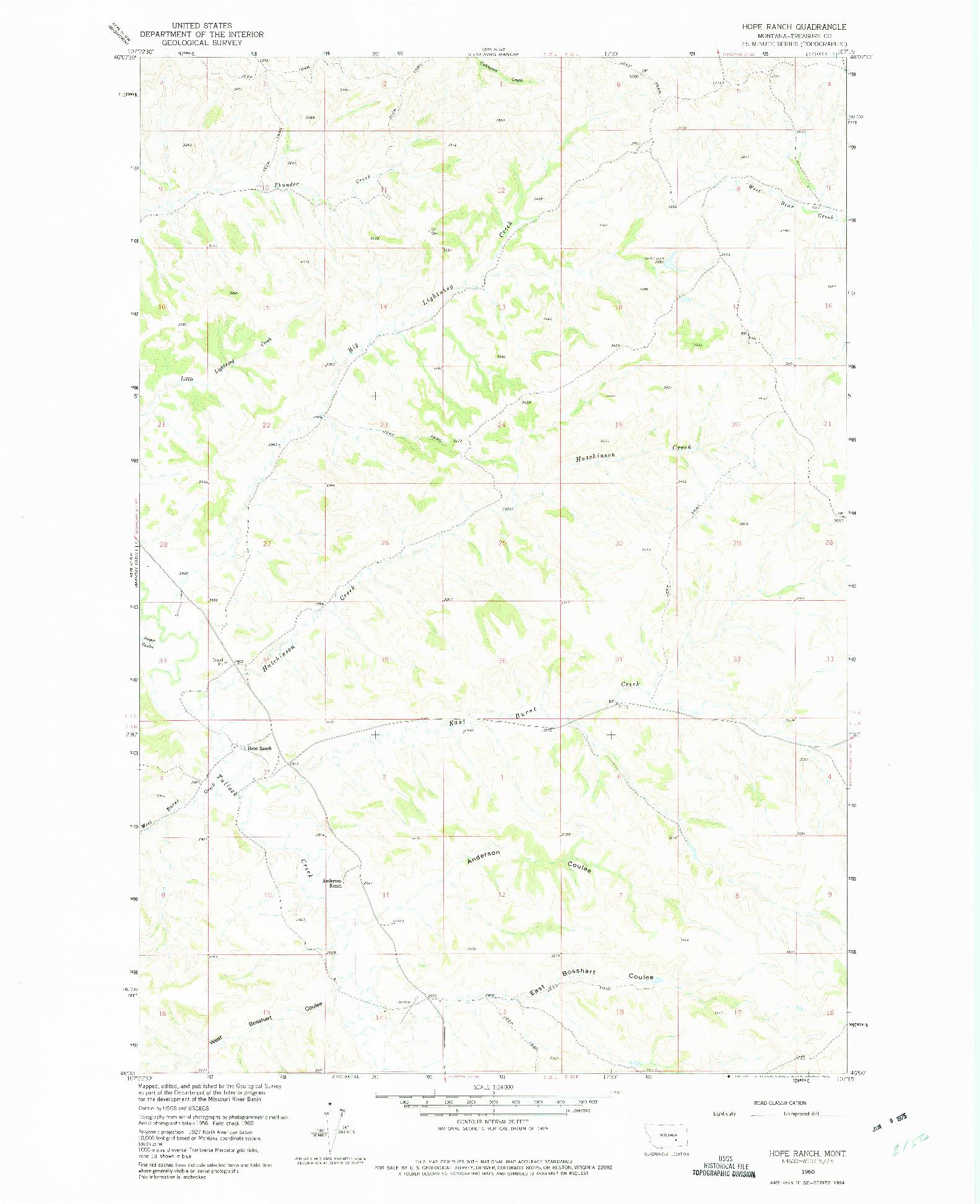 USGS 1:24000-SCALE QUADRANGLE FOR HOPE RANCH, MT 1960