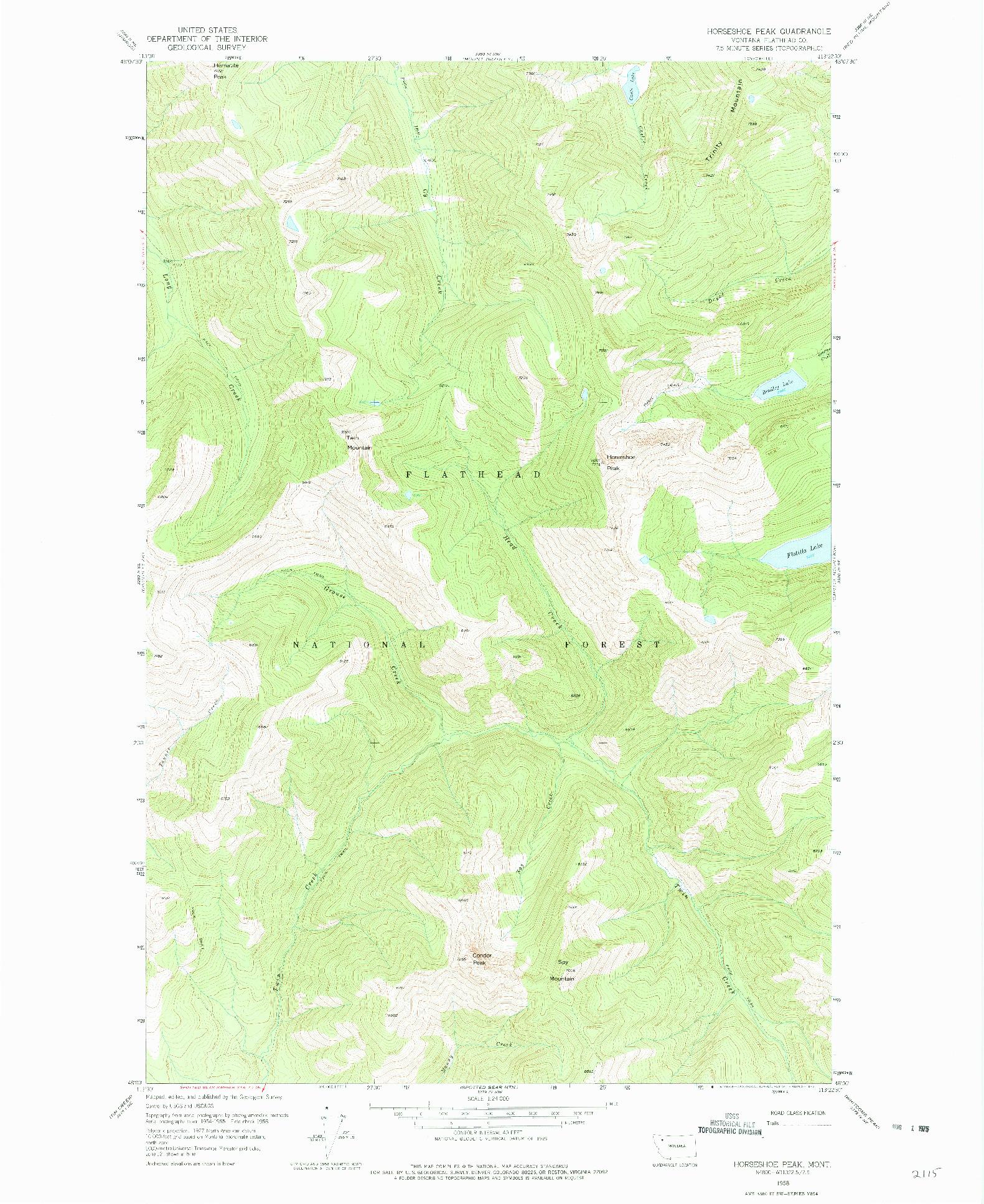 USGS 1:24000-SCALE QUADRANGLE FOR HORSESHOE PEAK, MT 1958