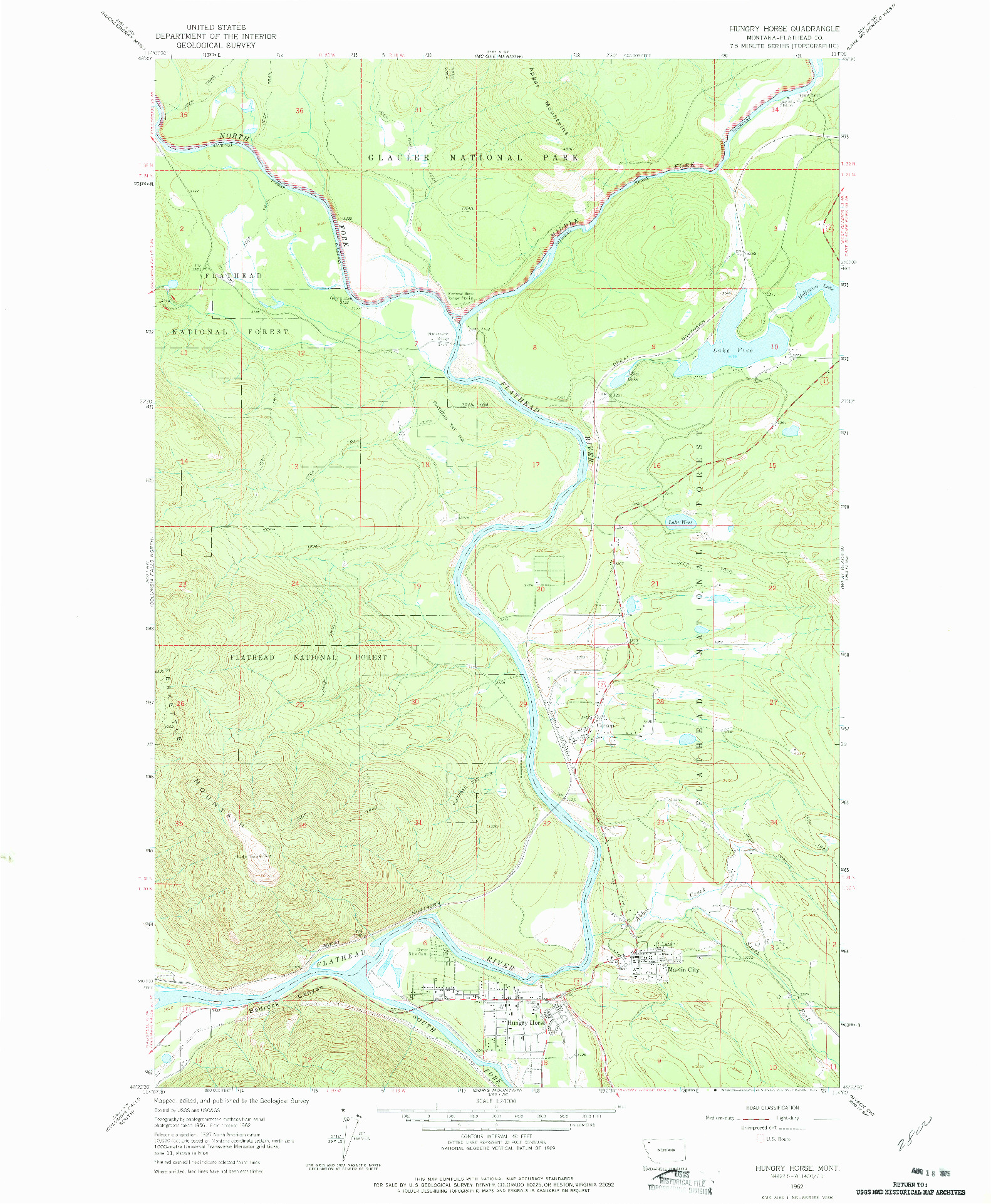 USGS 1:24000-SCALE QUADRANGLE FOR HUNGRY HORSE, MT 1962