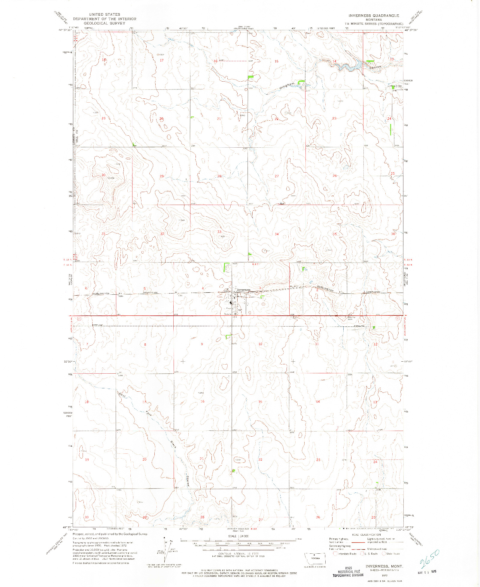 USGS 1:24000-SCALE QUADRANGLE FOR INVERNESS, MT 1972